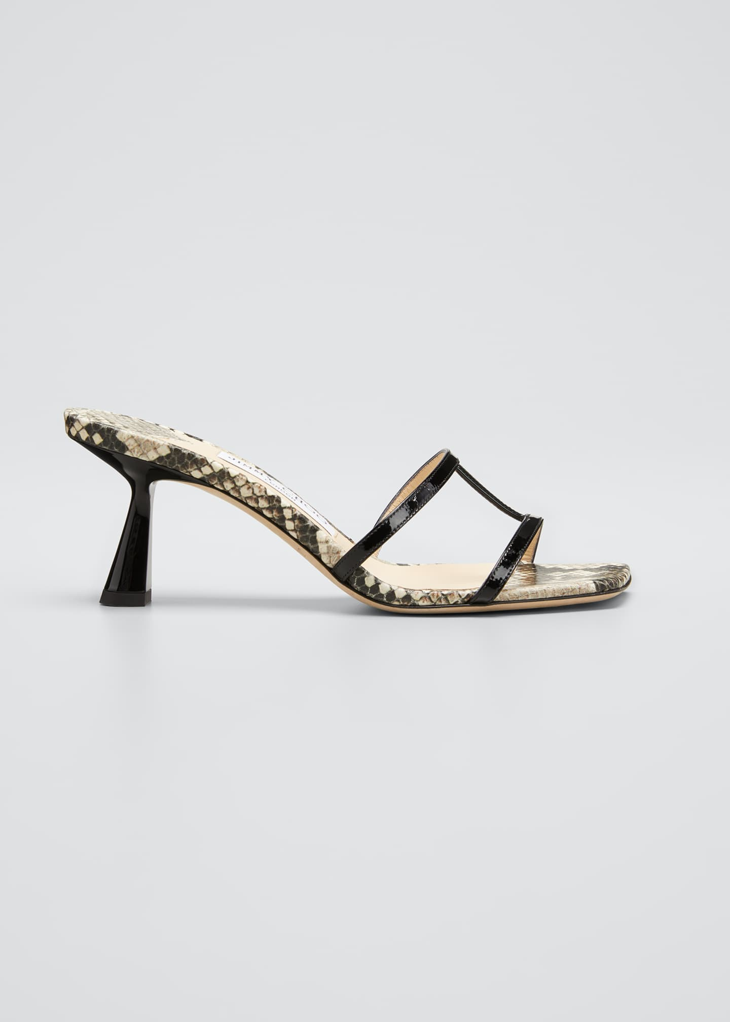 Image 1 of 3: Ria 65mm Snake-Print Slide Sandals
