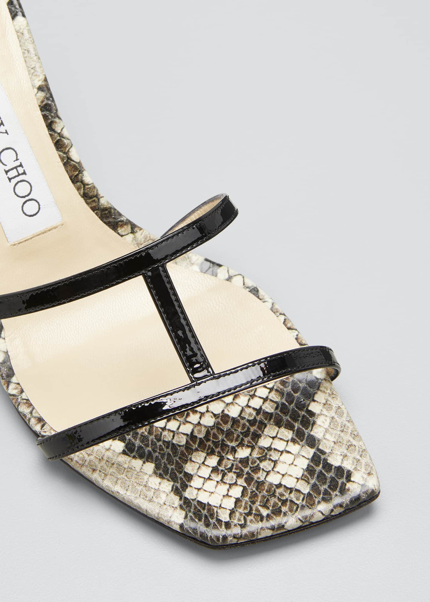 Image 3 of 3: Ria 65mm Snake-Print Slide Sandals