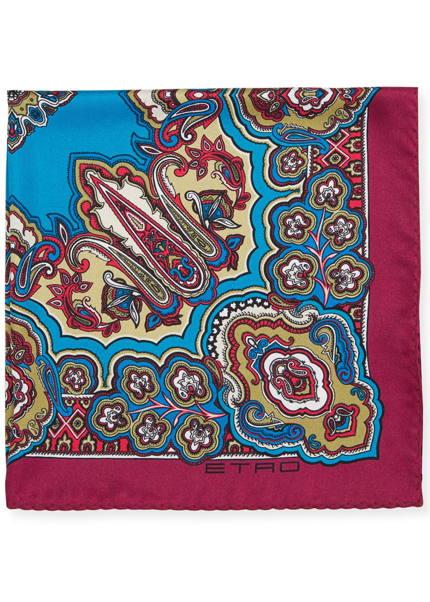 Image 1 of 1: Men's Paisley Silk Pocket Square