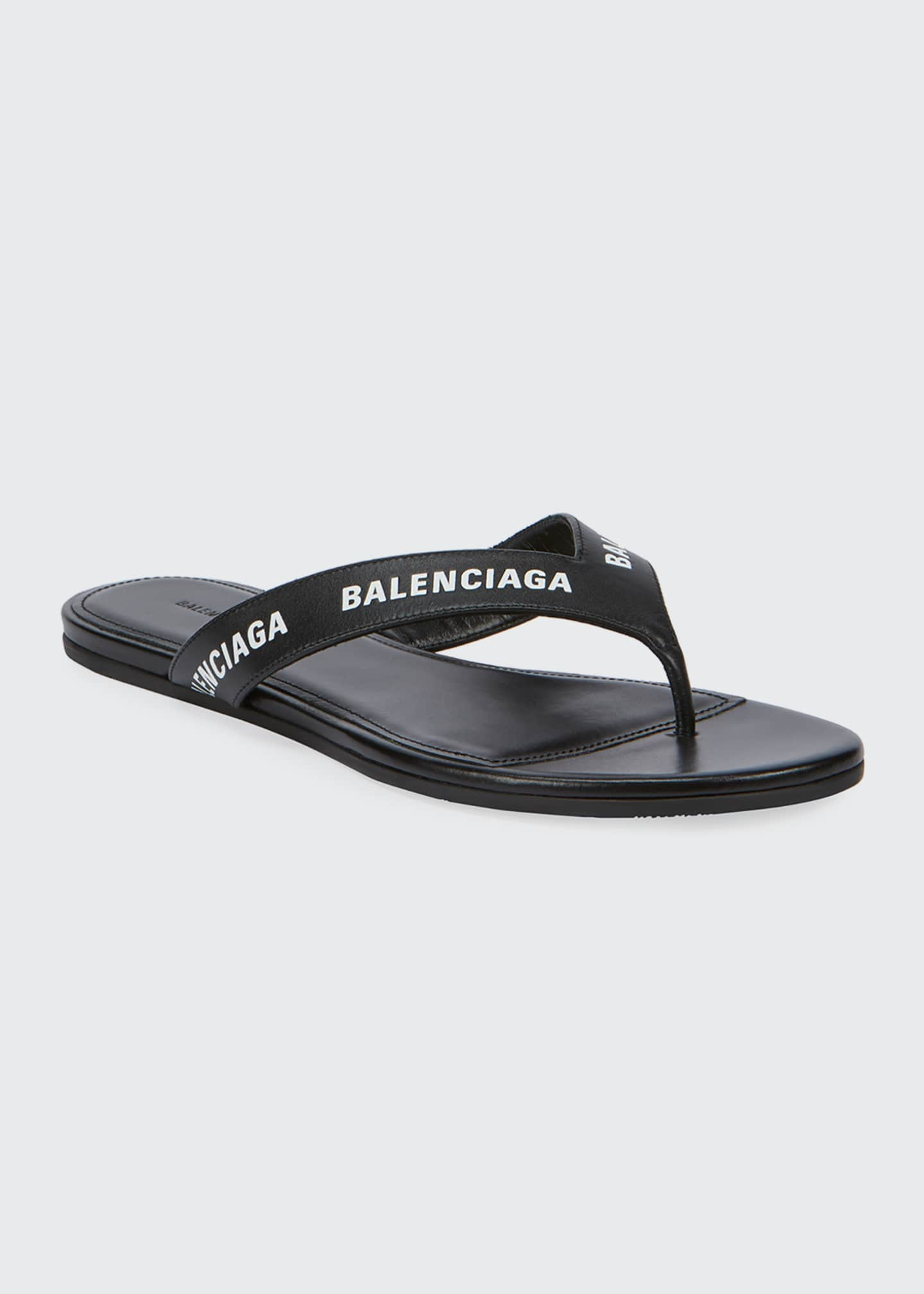 Image 1 of 5: Leather Logo Thong Sandals