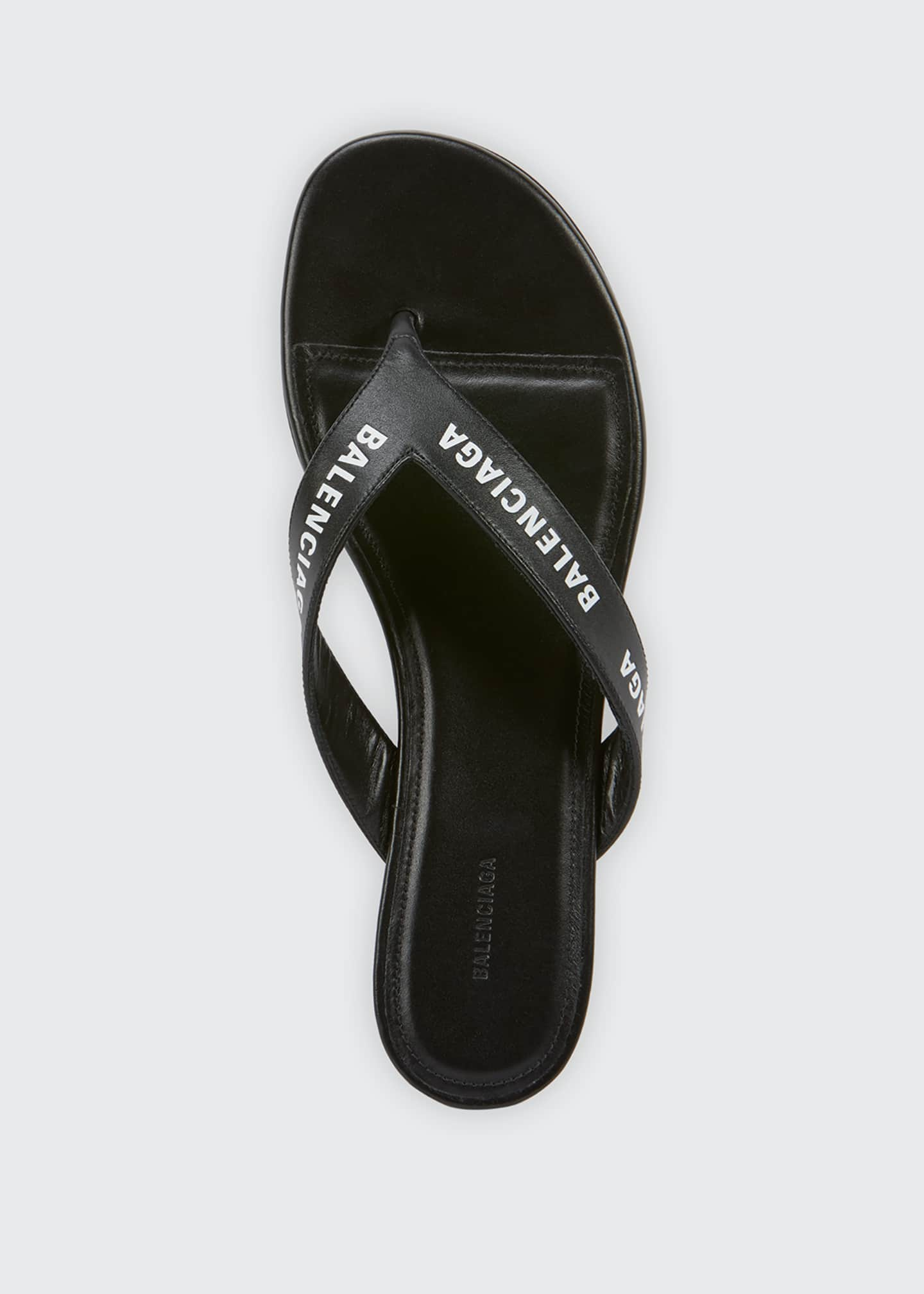 Image 3 of 5: Leather Logo Thong Sandals