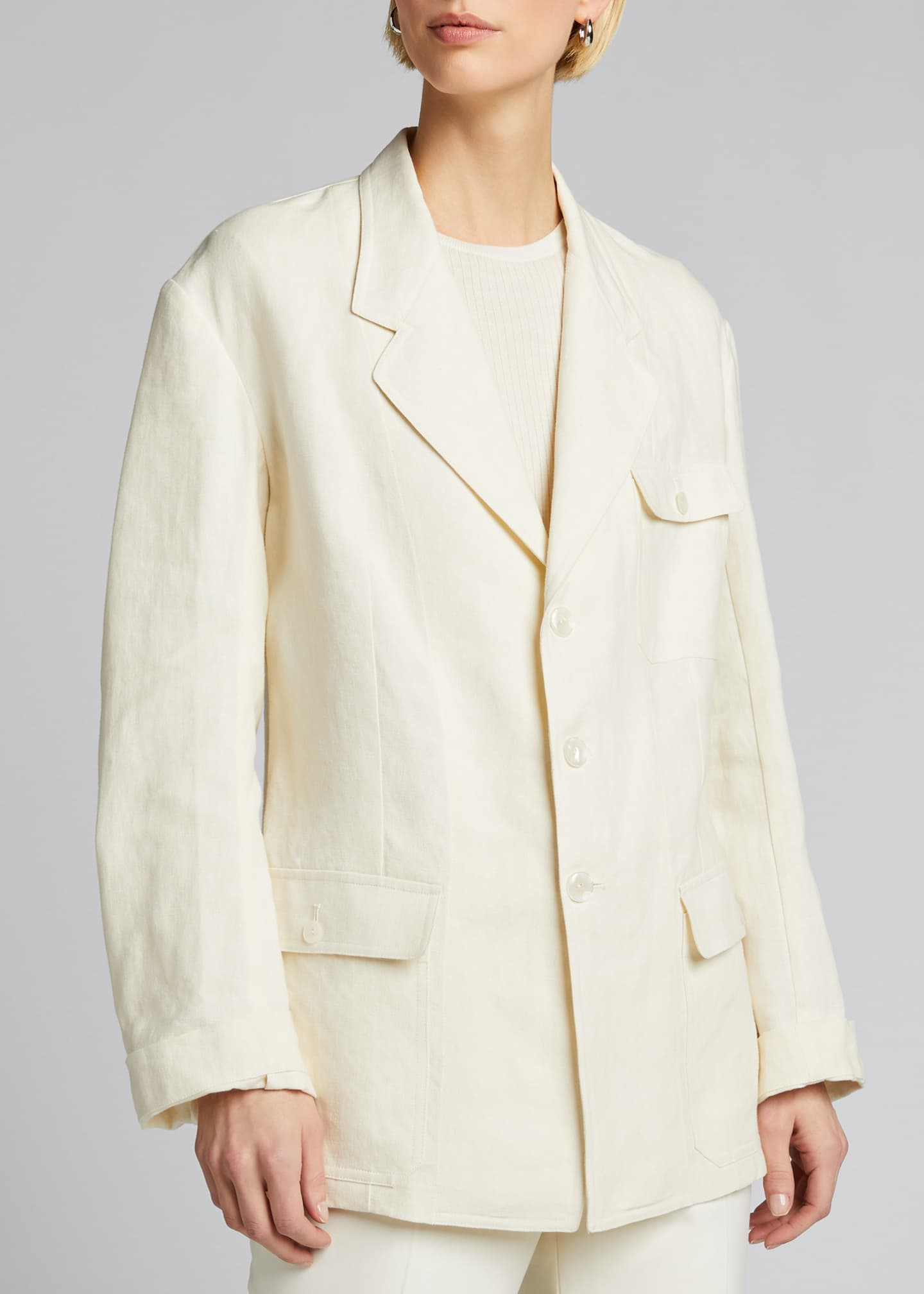 Image 3 of 5: Demi Linen Chore Utility Coat