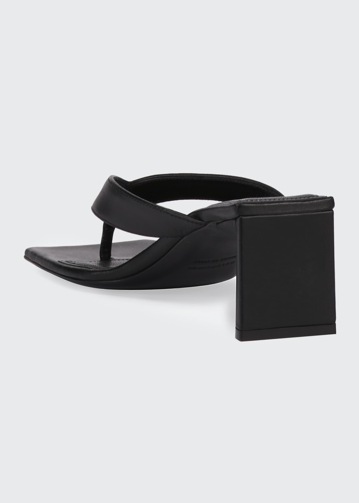 Image 3 of 4: Double Square Block-Heel Leather Thong Sandals