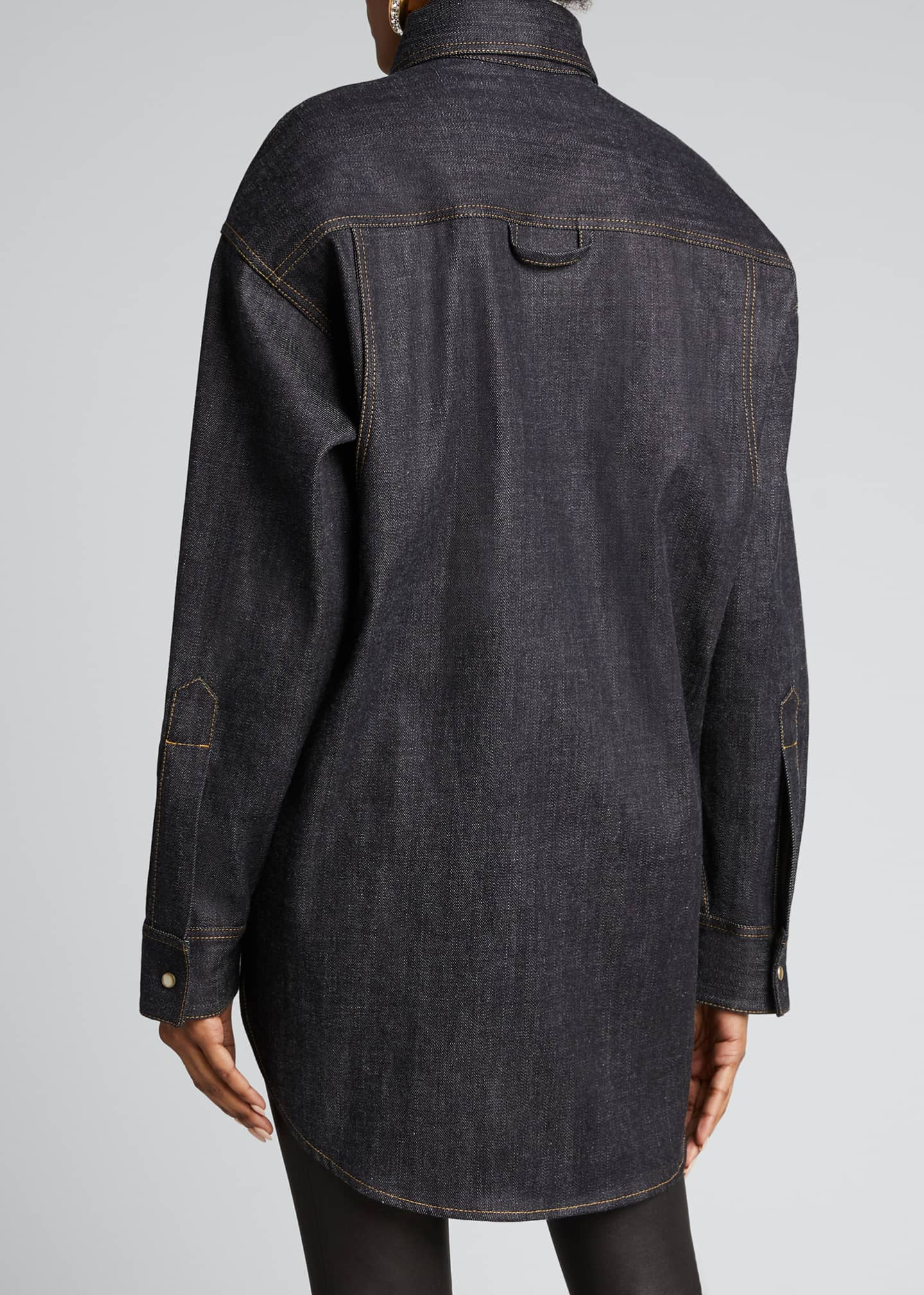 Image 2 of 5: Oversized Denim Shirt, Blue