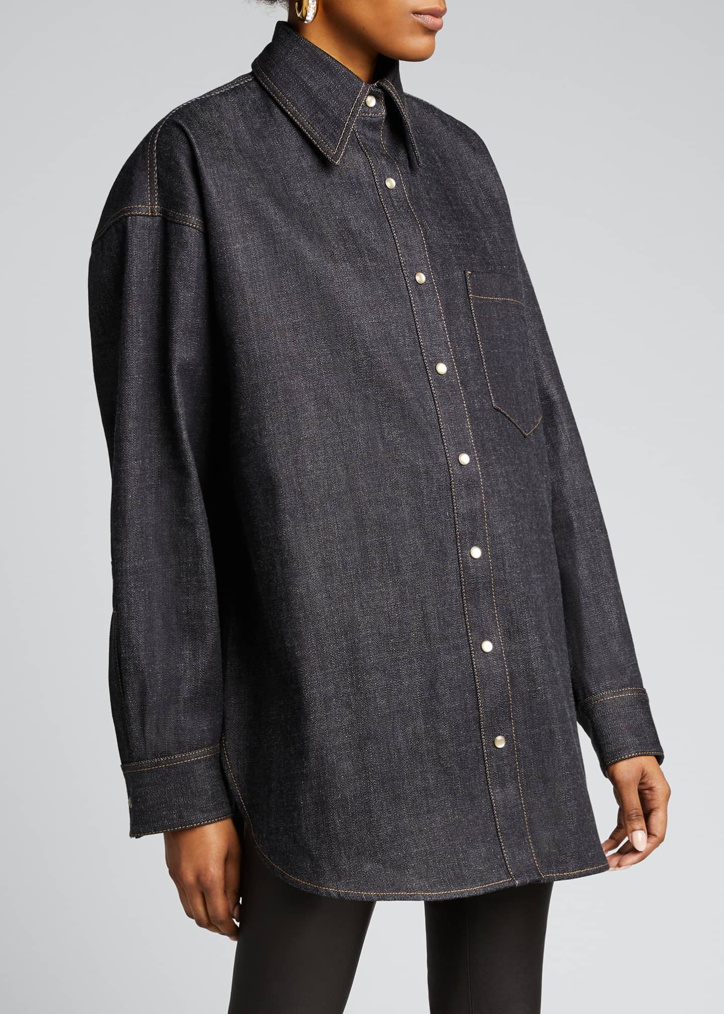 Image 3 of 5: Oversized Denim Shirt, Blue