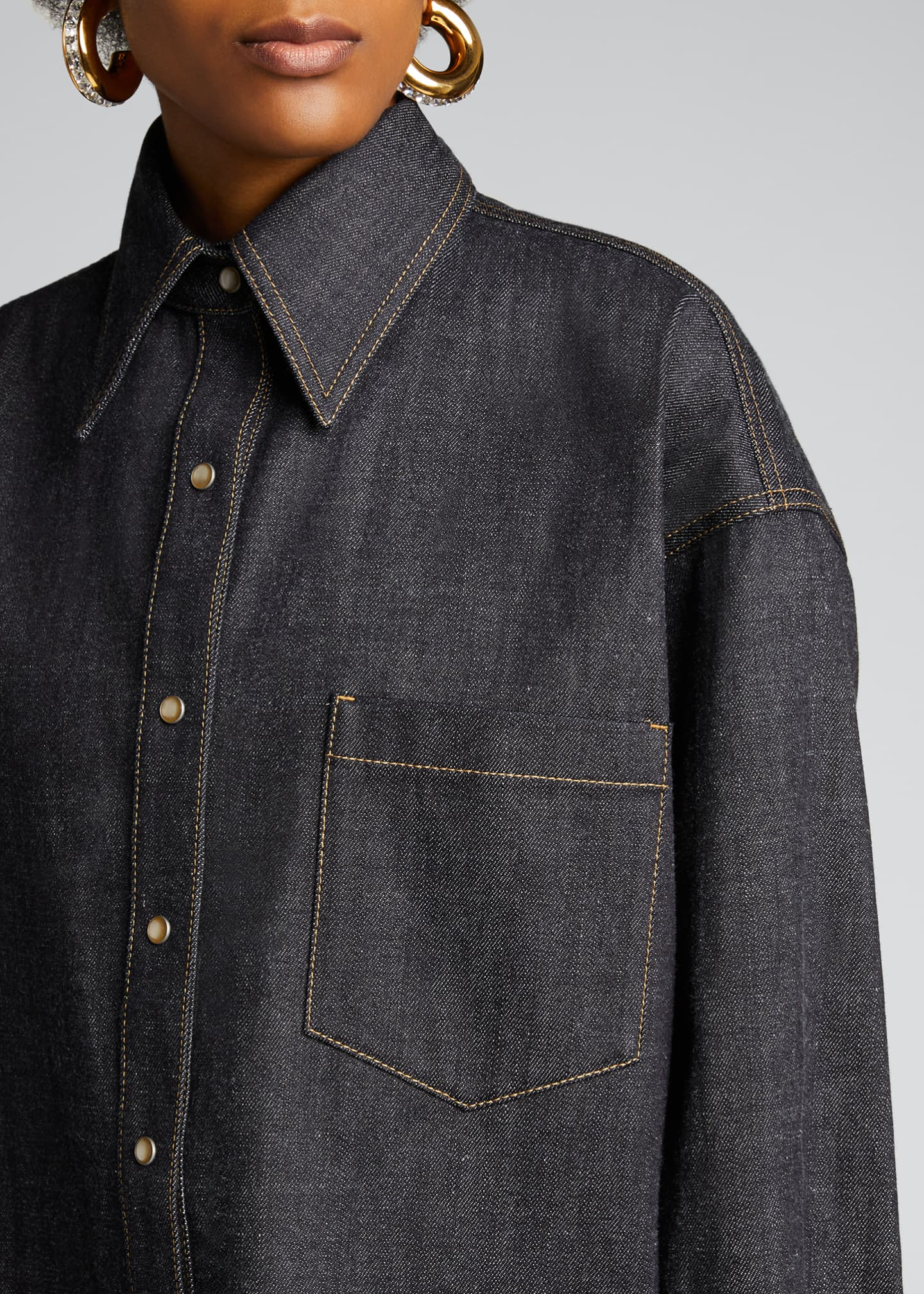Image 4 of 5: Oversized Denim Shirt, Blue