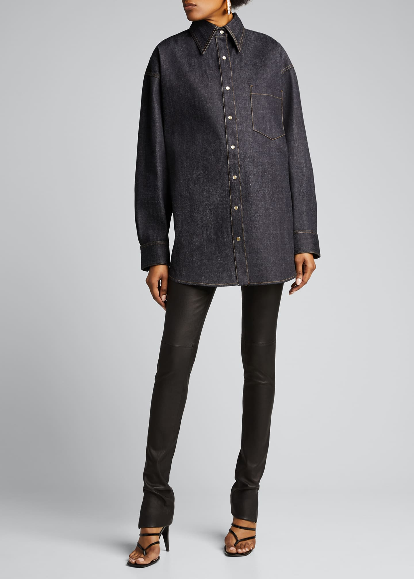 Image 1 of 5: Oversized Denim Shirt, Blue
