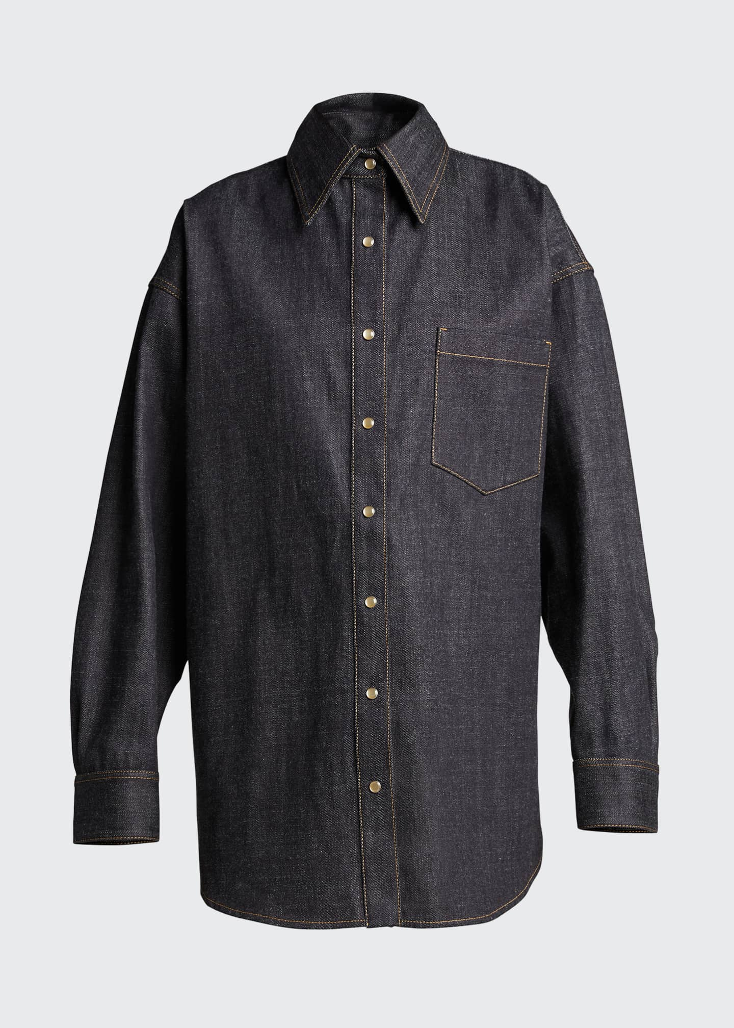 Image 5 of 5: Oversized Denim Shirt, Blue