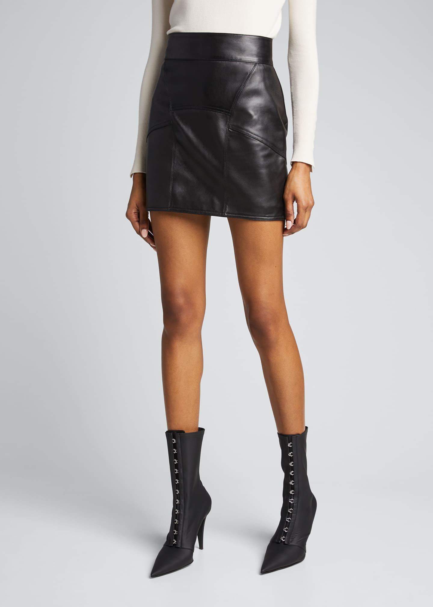 Image 3 of 5: Leather Mini Skirt