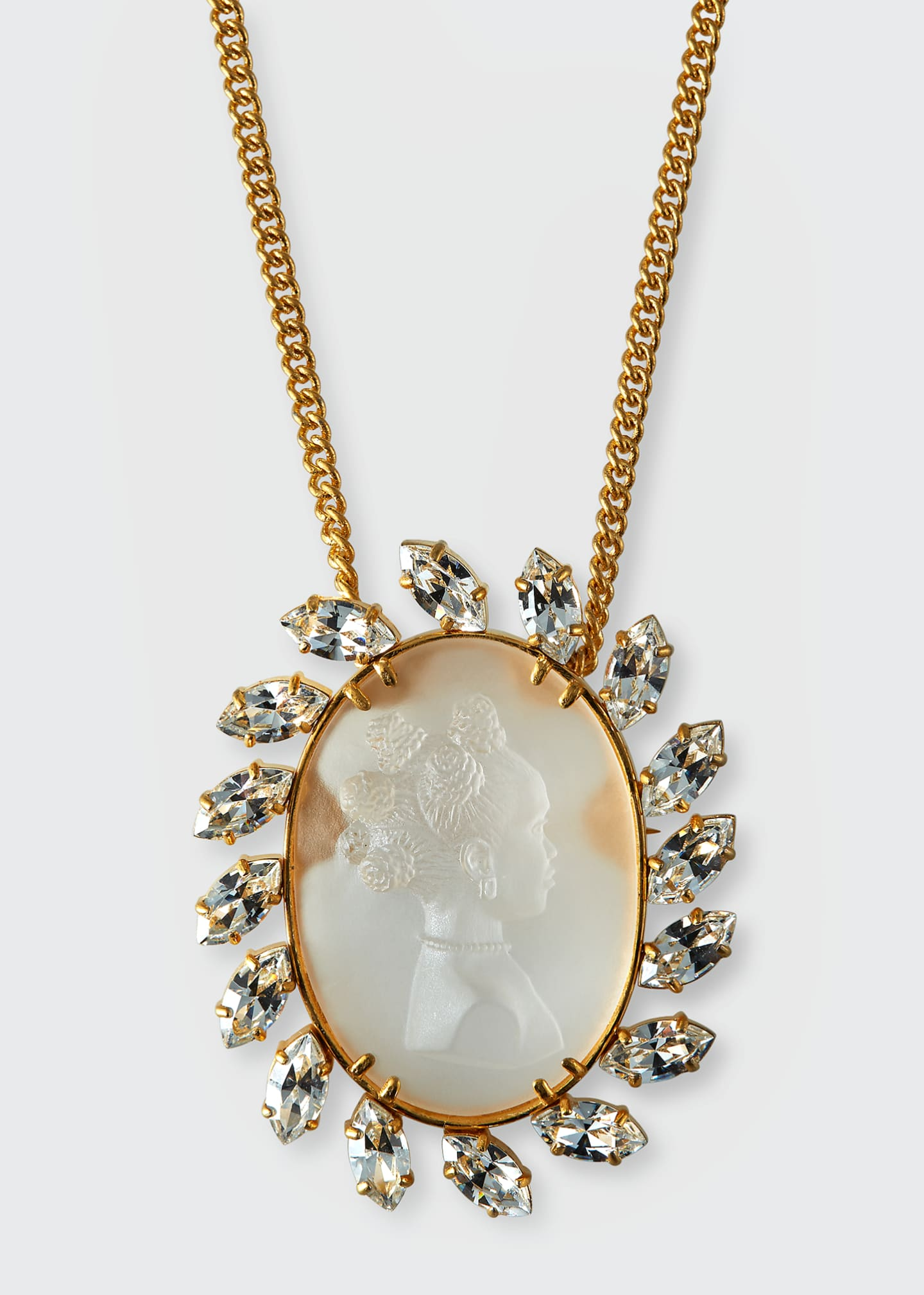 Image 1 of 2: Crystal Cameo Pendant Necklace