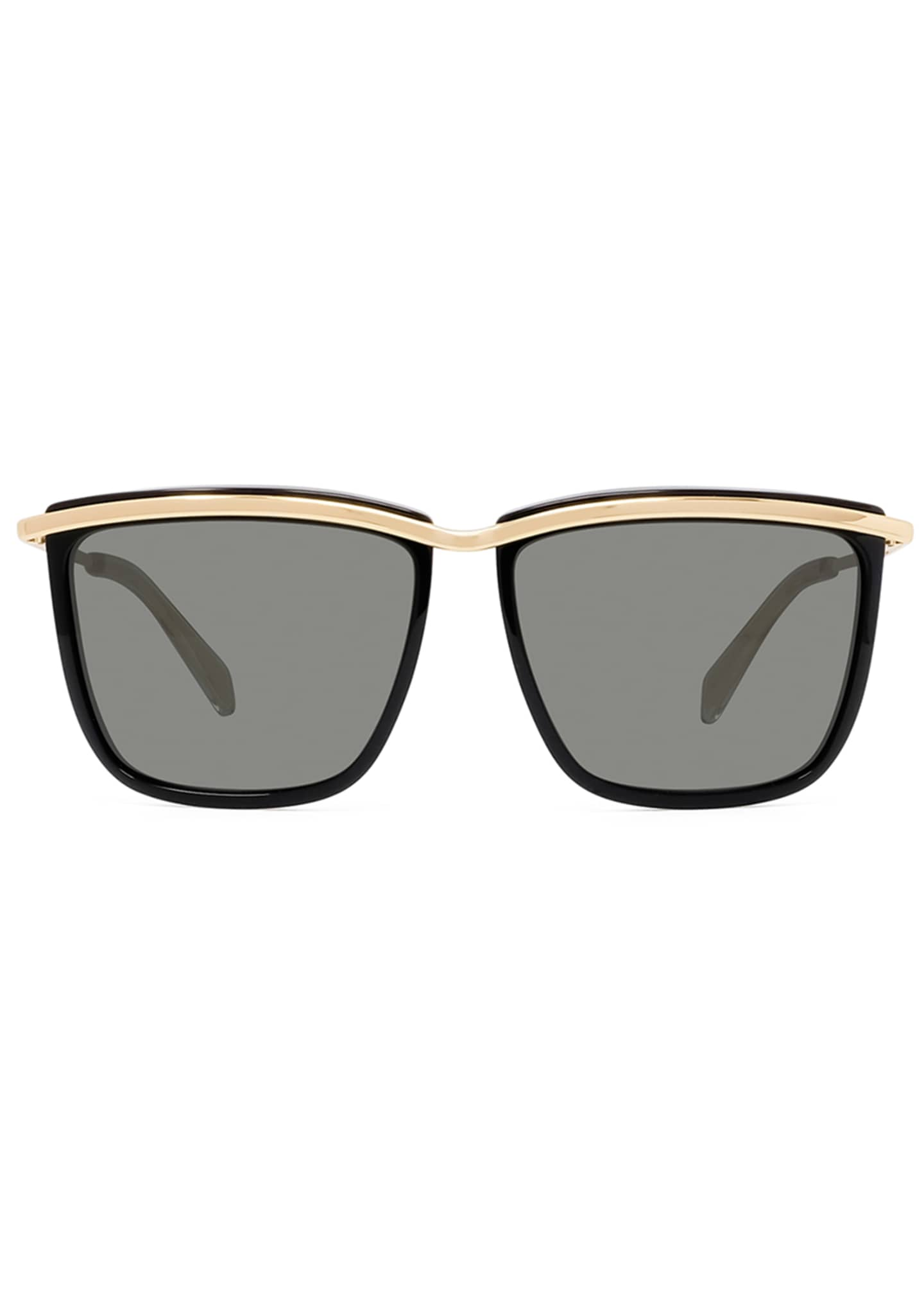 Image 2 of 3: Men's Two-Tone Square Metal Sunglasses