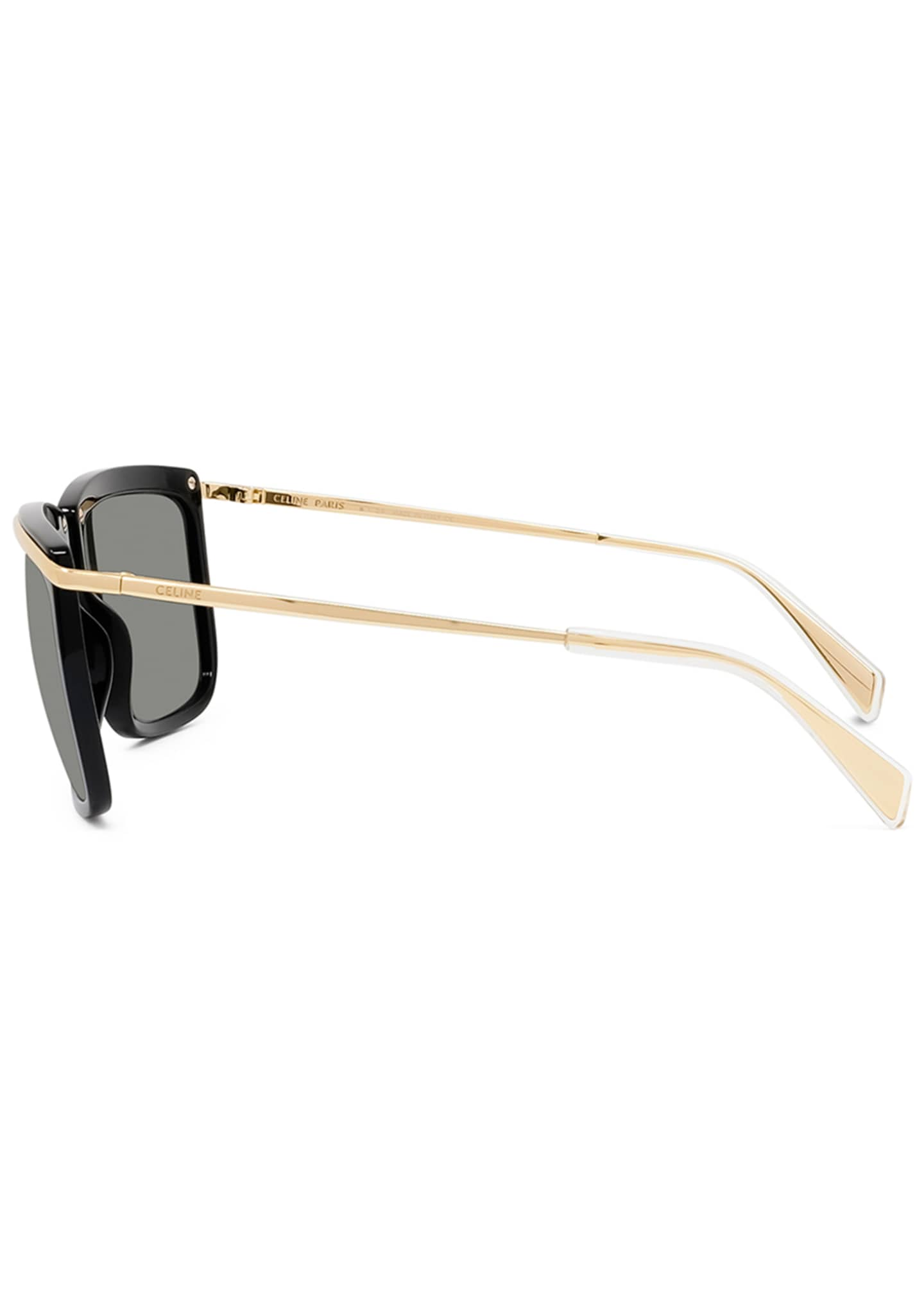 Image 3 of 3: Men's Two-Tone Square Metal Sunglasses