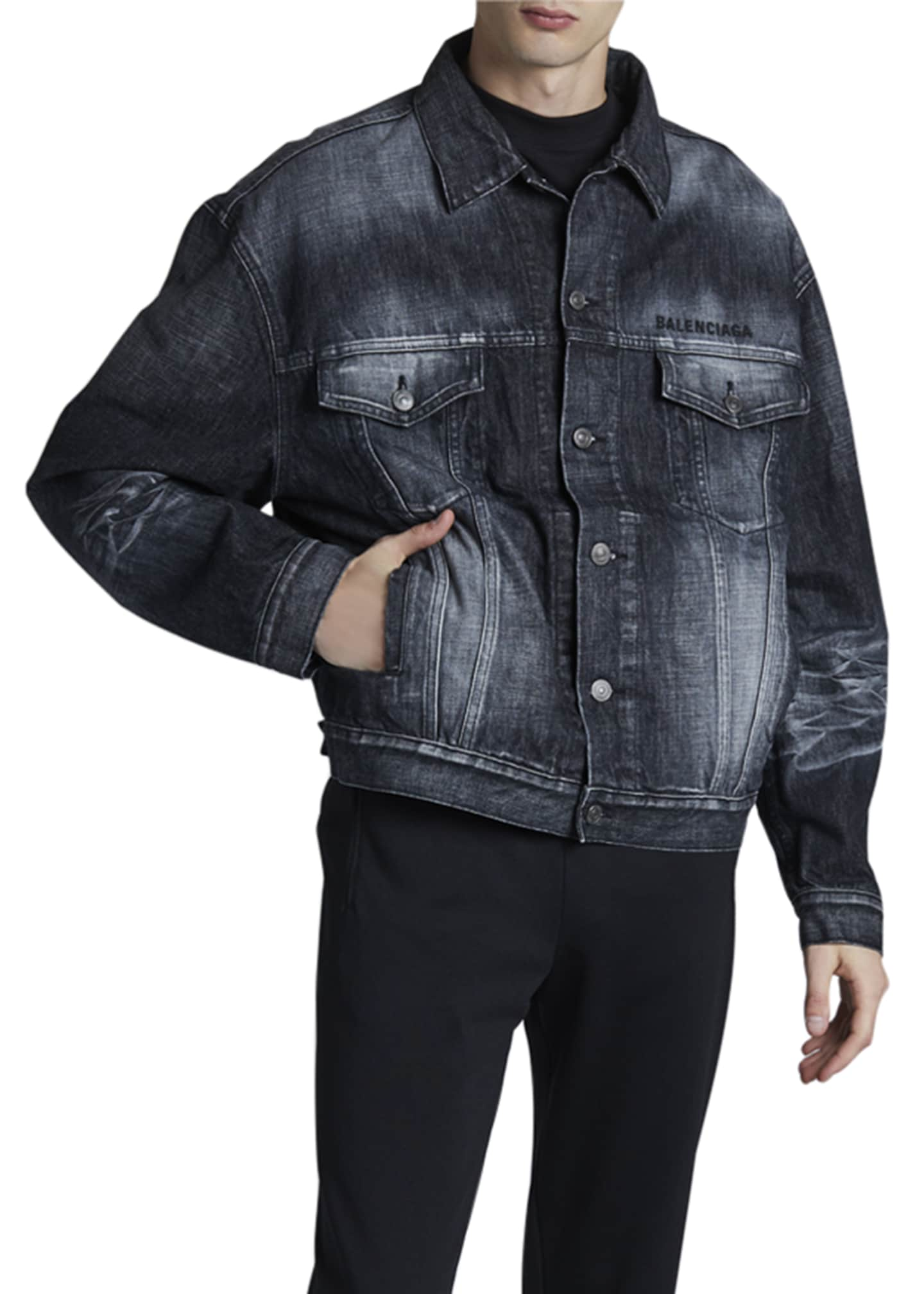 Image 3 of 3: Men's Logo Embroidery Denim Jacket