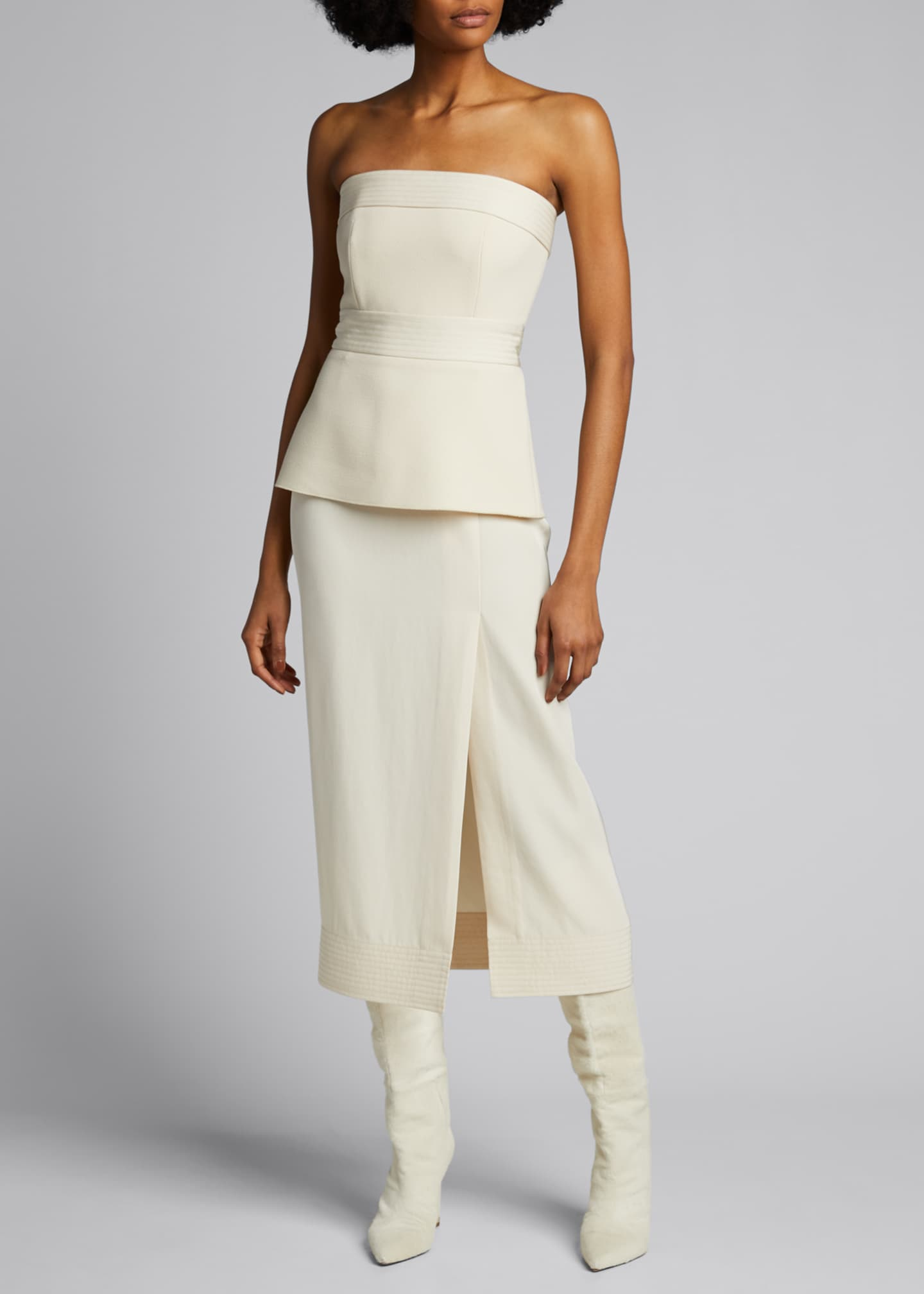 Image 3 of 5: Strapless Crepe Peplum Dress