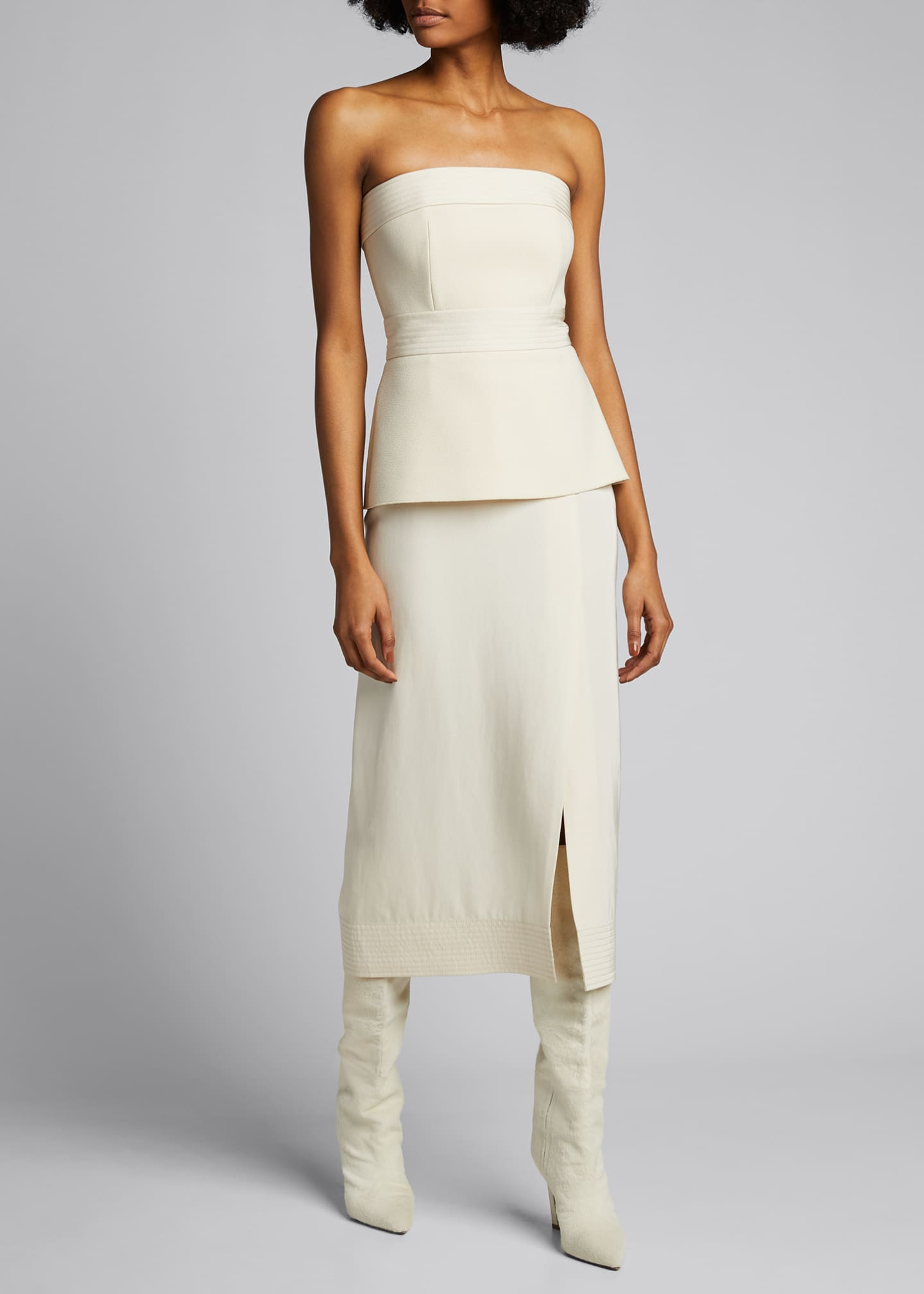 Image 1 of 5: Strapless Crepe Peplum Dress
