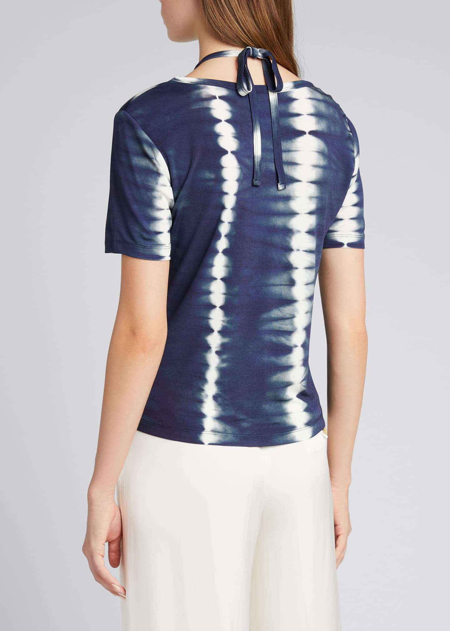 Image 2 of 5: Tie-Dye Cutout Halter-Neck Shirt