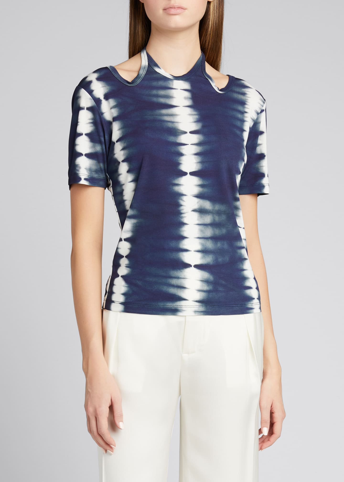Image 3 of 5: Tie-Dye Cutout Halter-Neck Shirt
