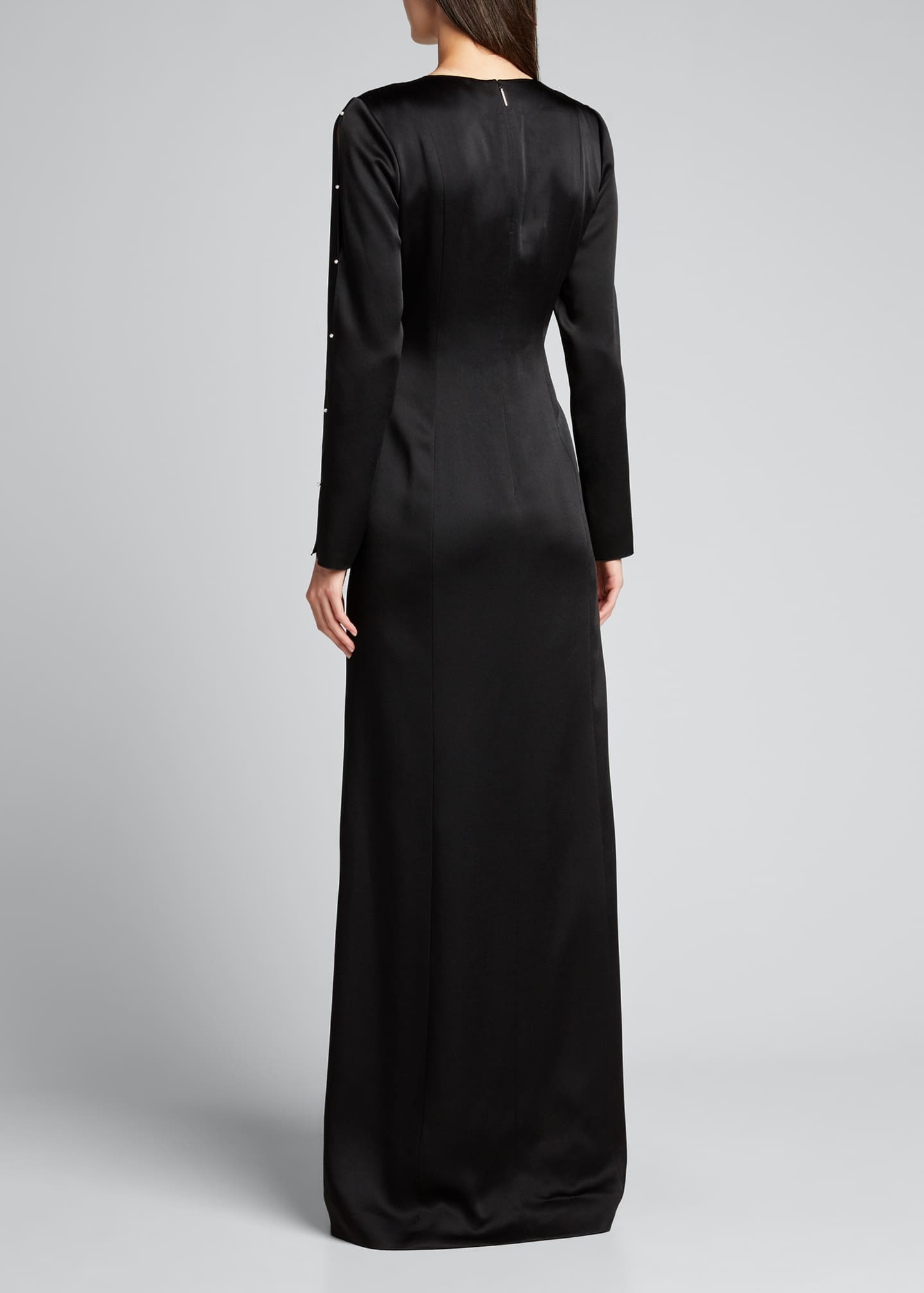 Image 2 of 5: Satin Crepe Gown w/ Pearl-Embellished Sleeves