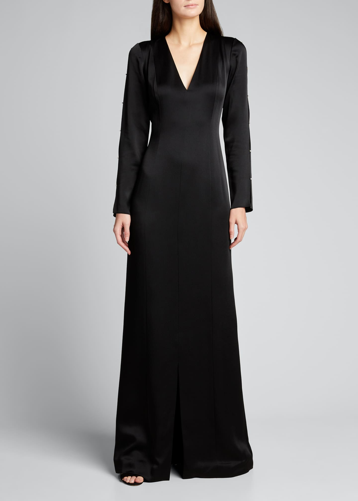 Image 3 of 5: Satin Crepe Gown w/ Pearl-Embellished Sleeves
