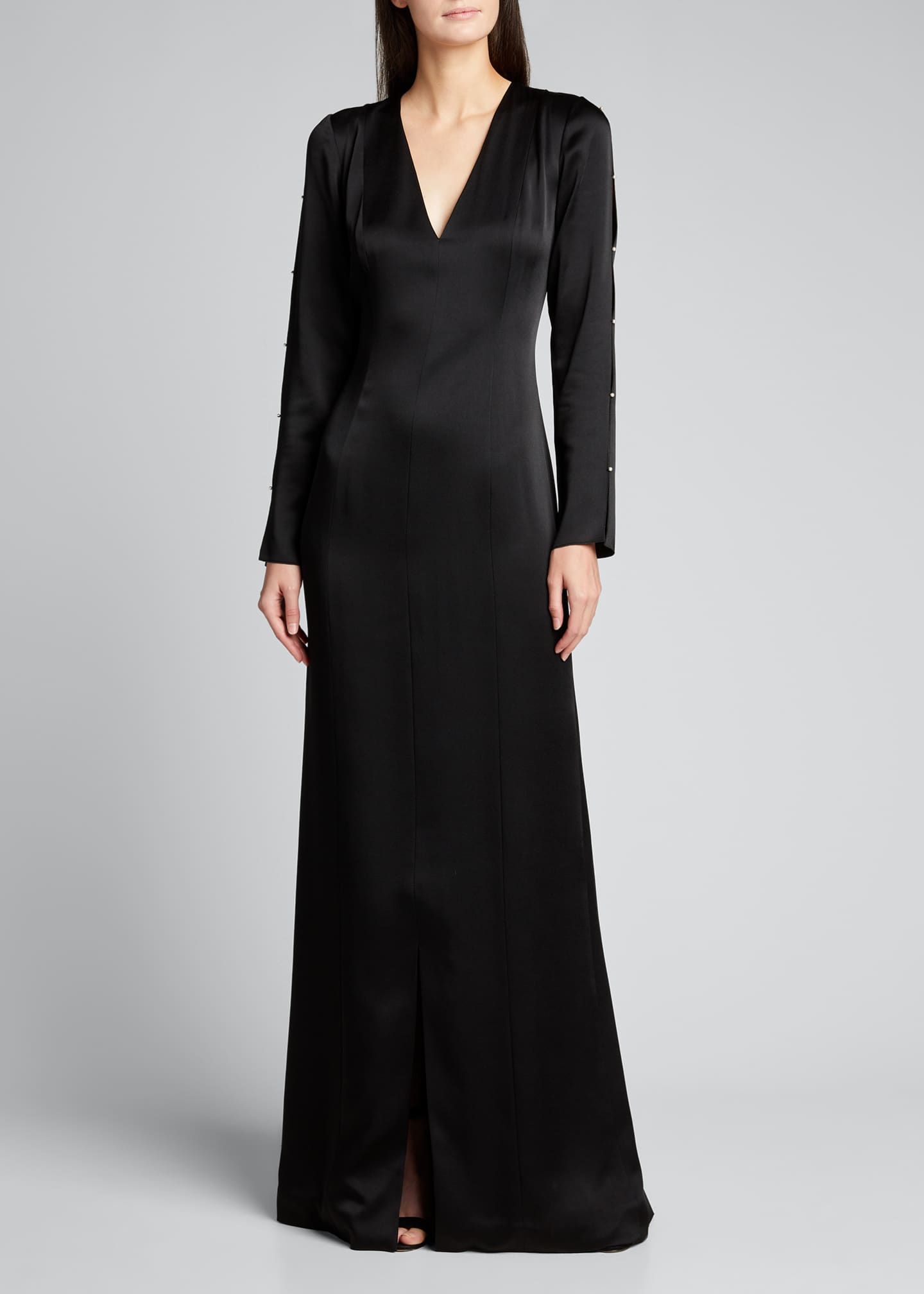 Image 1 of 5: Satin Crepe Gown w/ Pearl-Embellished Sleeves