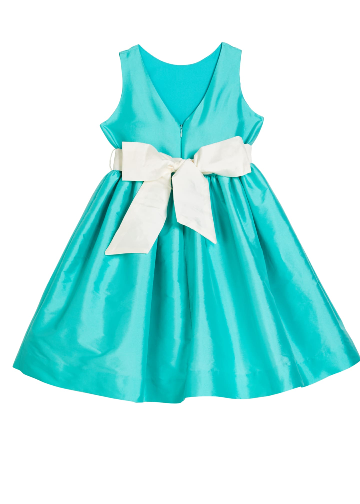Image 2 of 2: Girl's Sleeveless Taffeta Dress w/ Sash, Size 4-6X