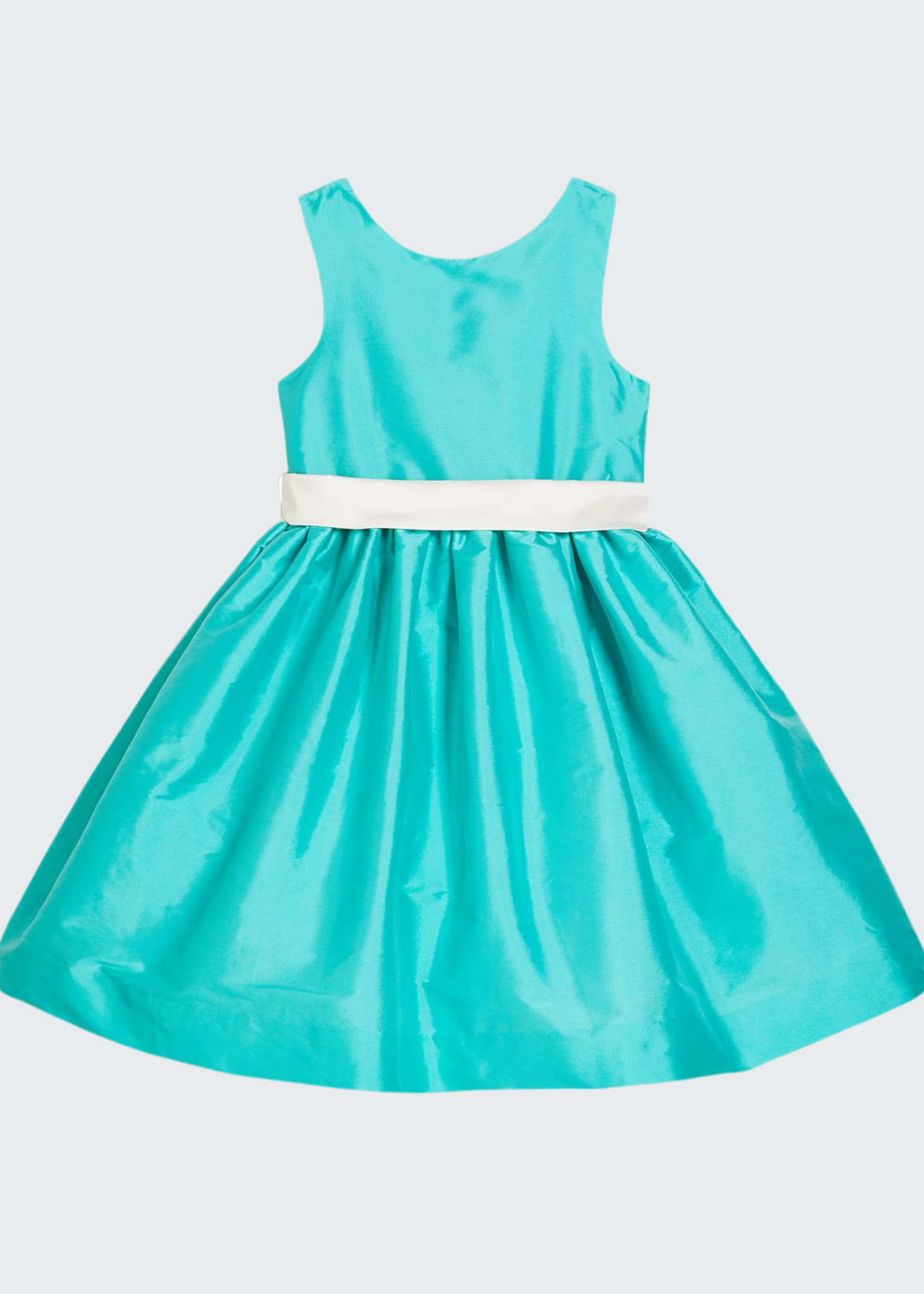Girl's Sleeveless Taffeta Dress w/ Sash, Size 4-6X