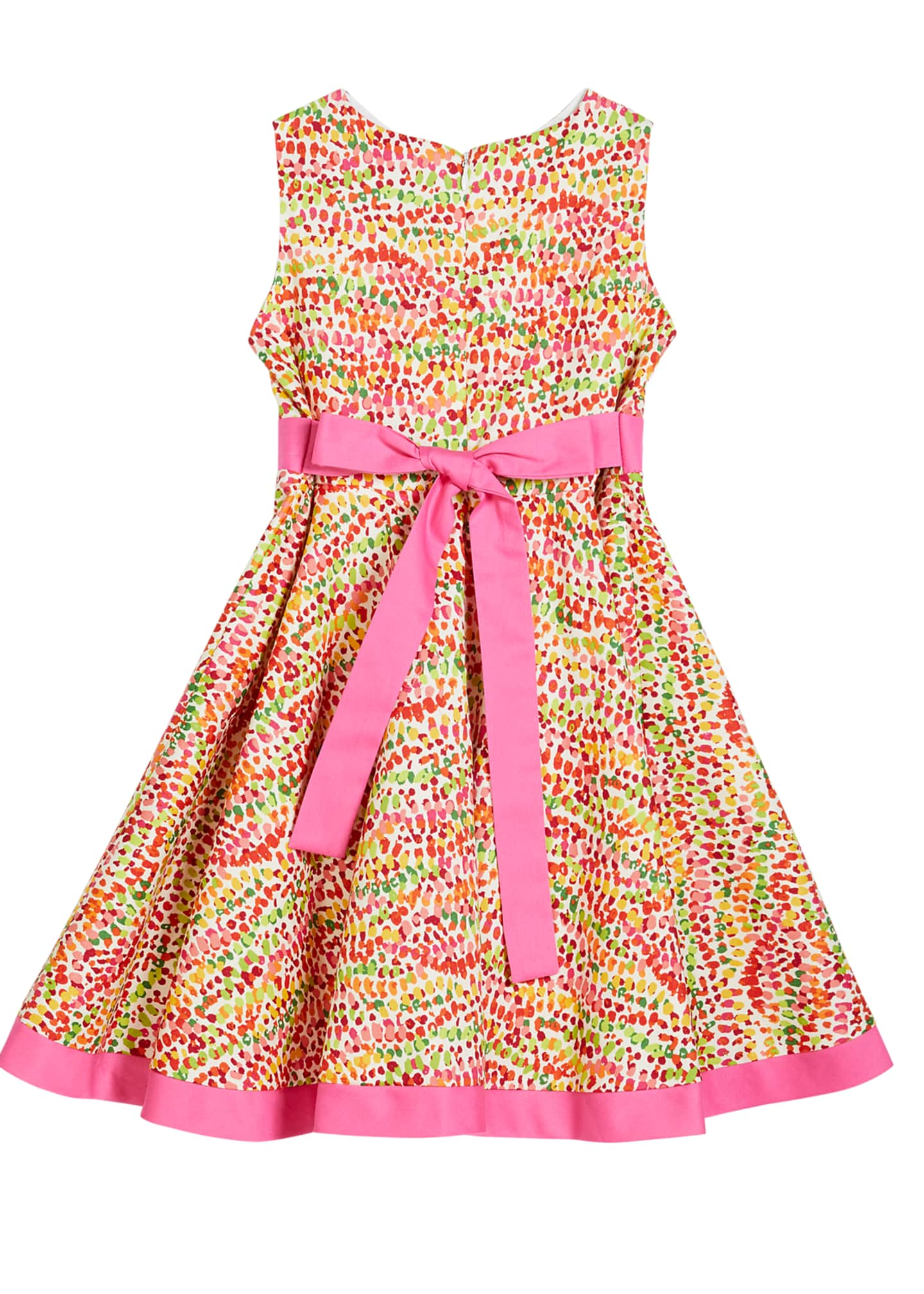 Image 2 of 2: Girl's Pebble Print Twirl Dress w/ Solid Trim, Size 4-6X