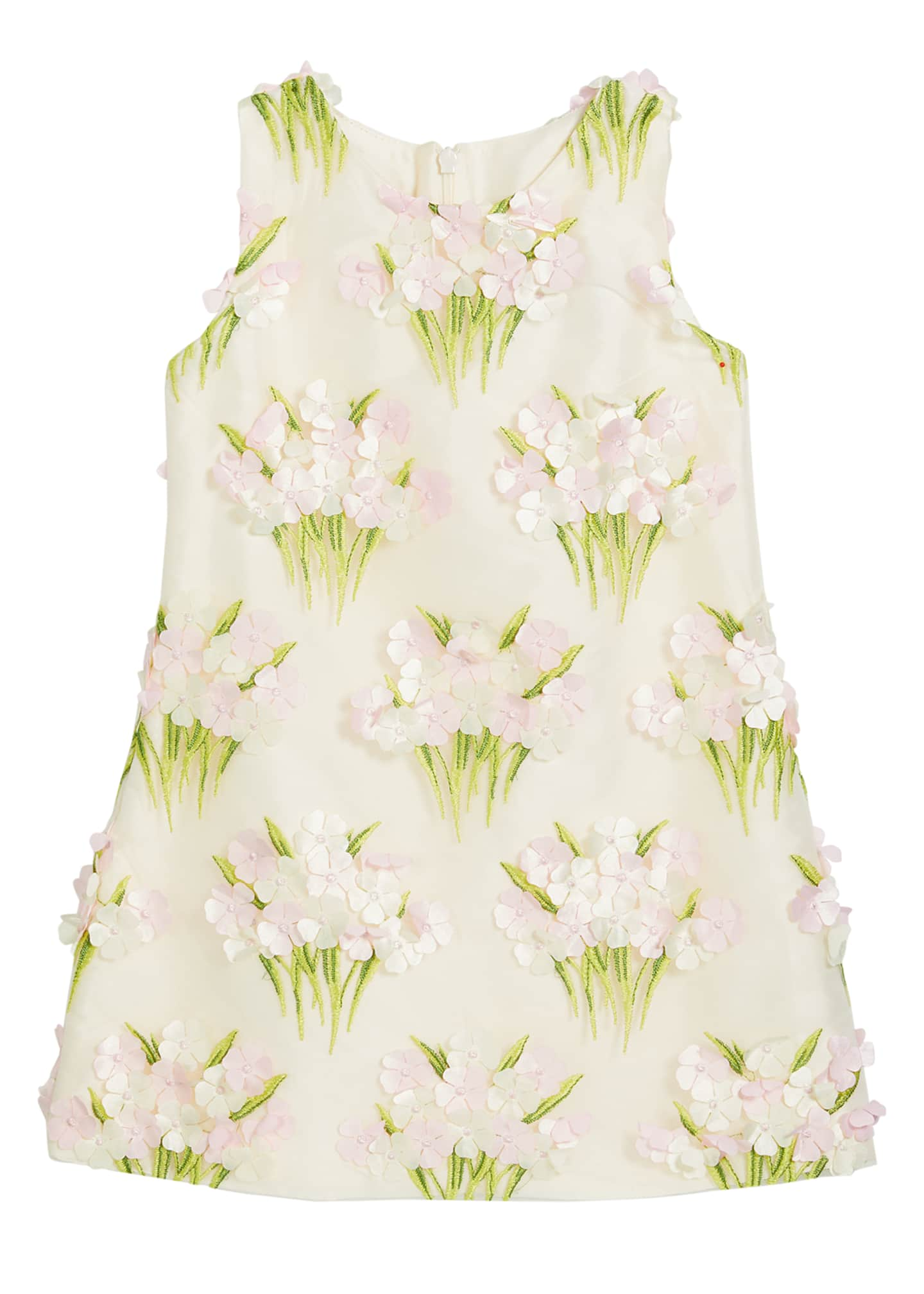 Image 1 of 1: Girl's Bouquet Floral Applique Sleeveless Dress, Size 4-6X