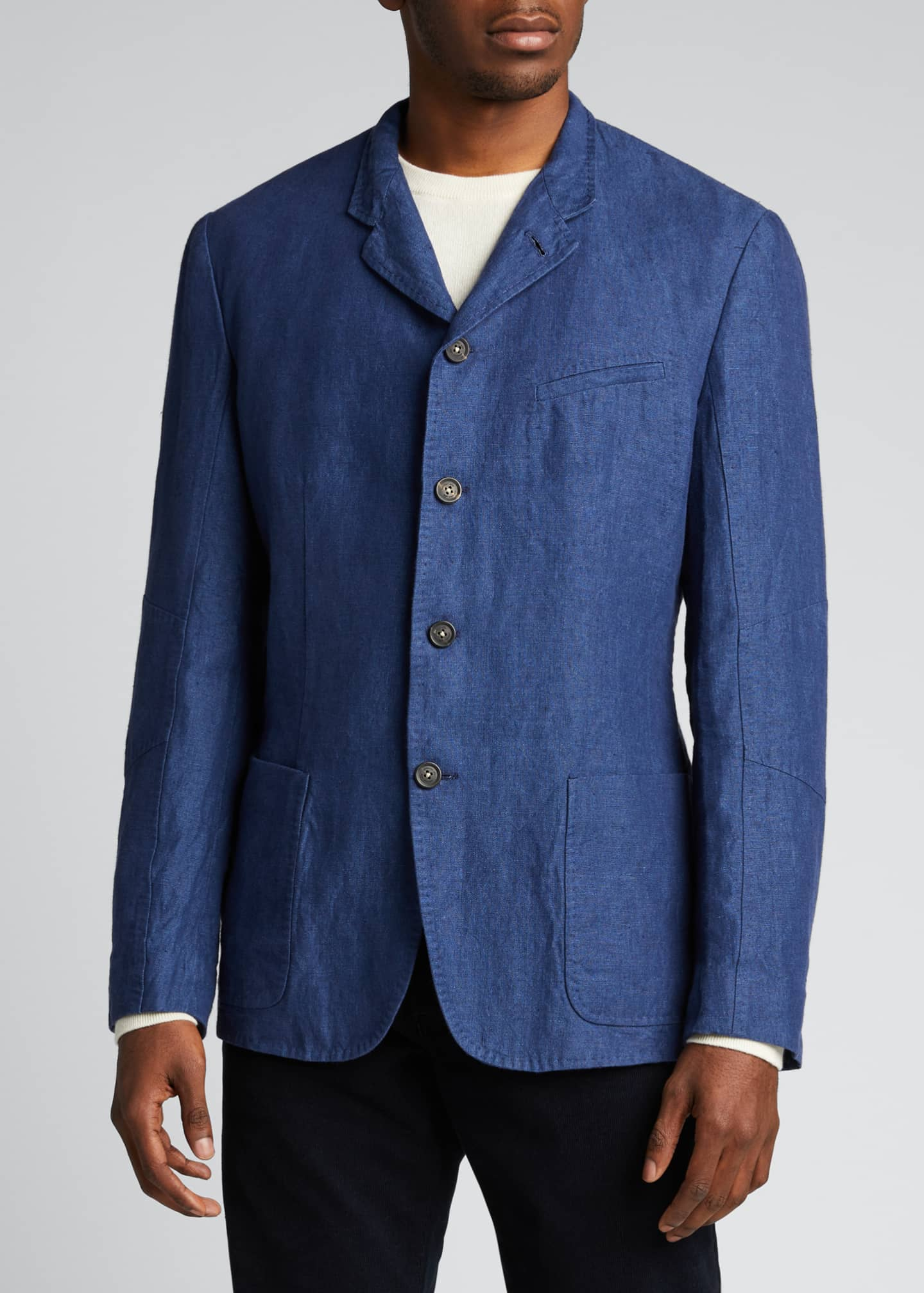 Image 3 of 5: Men's Solid Linen Jacket