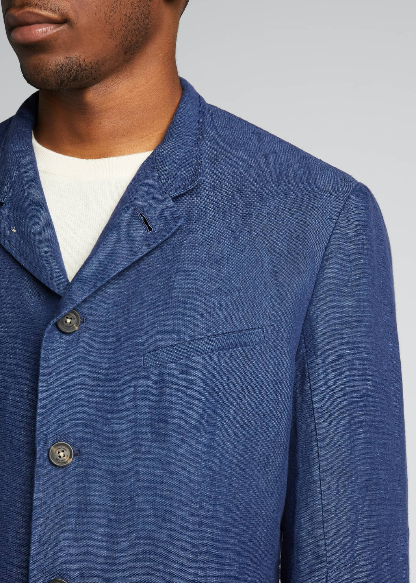 Image 4 of 5: Men's Solid Linen Jacket