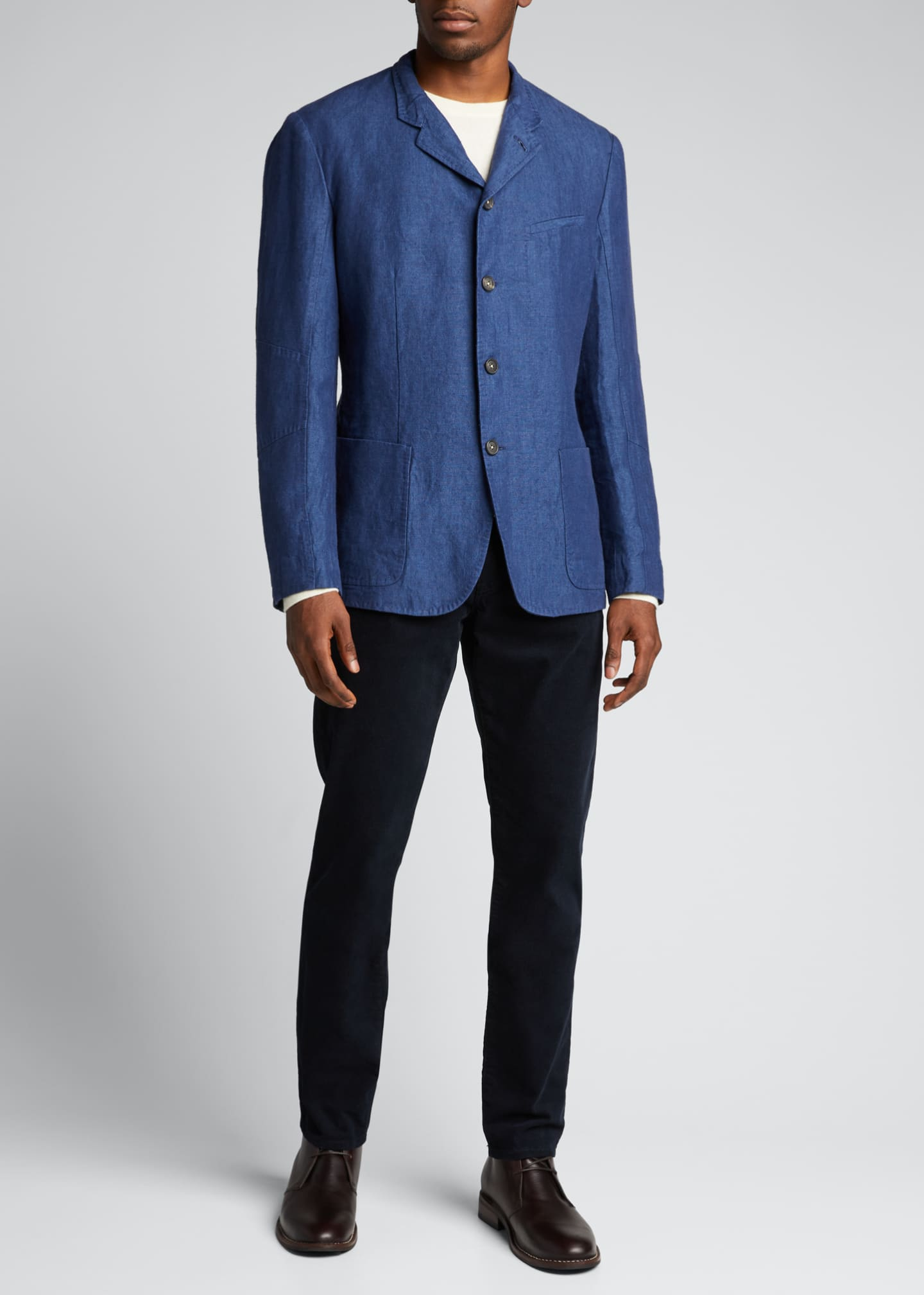 Image 1 of 5: Men's Solid Linen Jacket