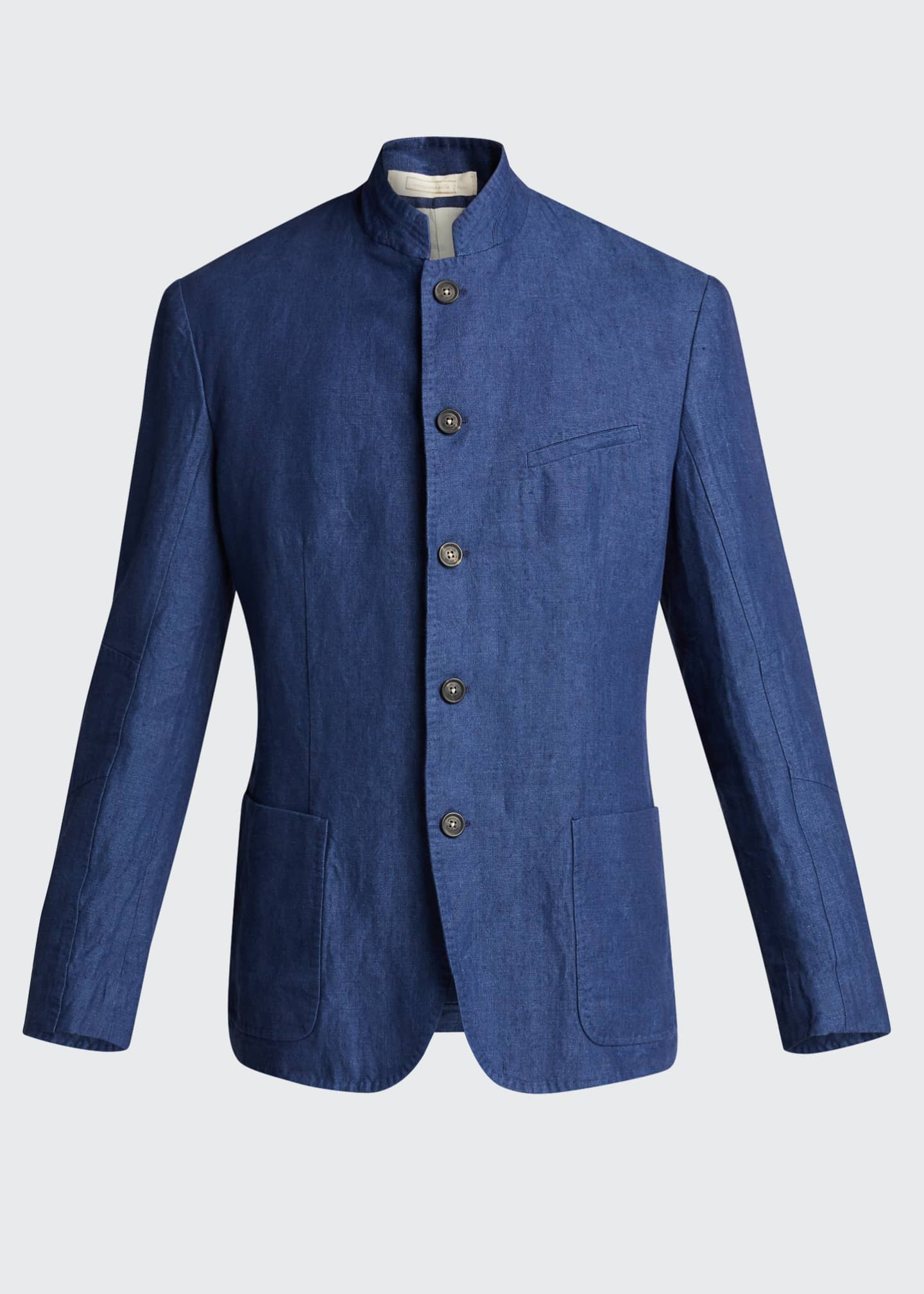 Image 5 of 5: Men's Solid Linen Jacket