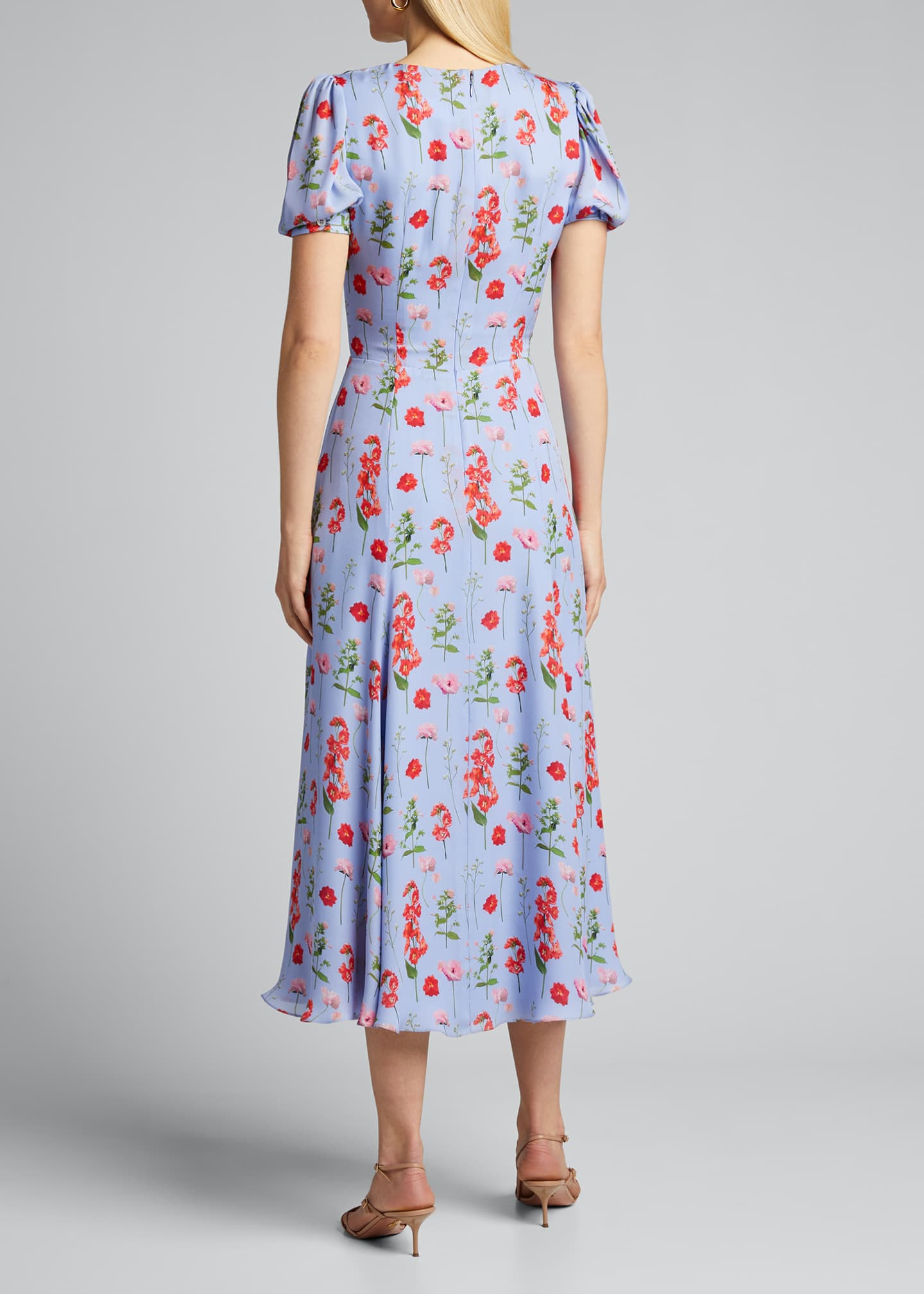 Image 2 of 5: Floral Print Short-Sleeve Wrap Dress