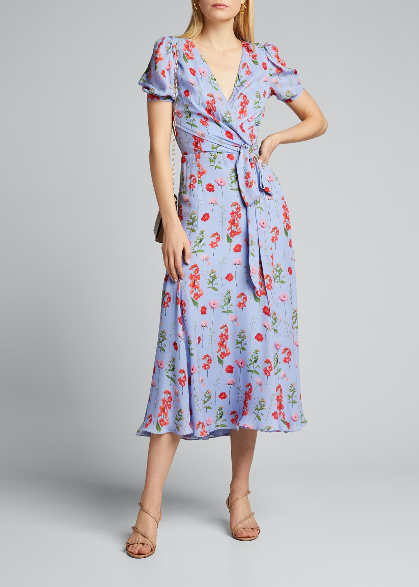 Image 1 of 5: Floral Print Short-Sleeve Wrap Dress