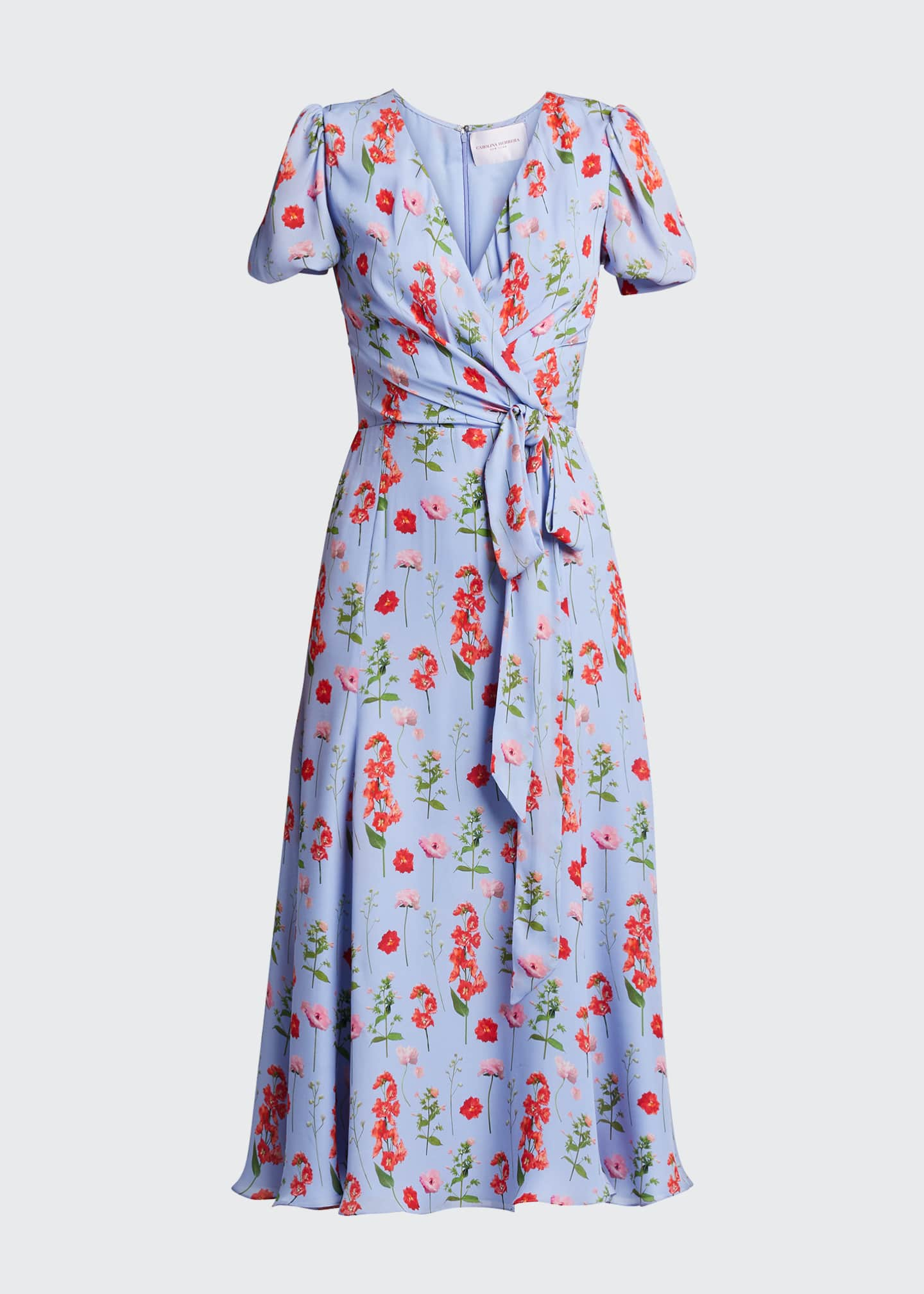 Image 5 of 5: Floral Print Short-Sleeve Wrap Dress
