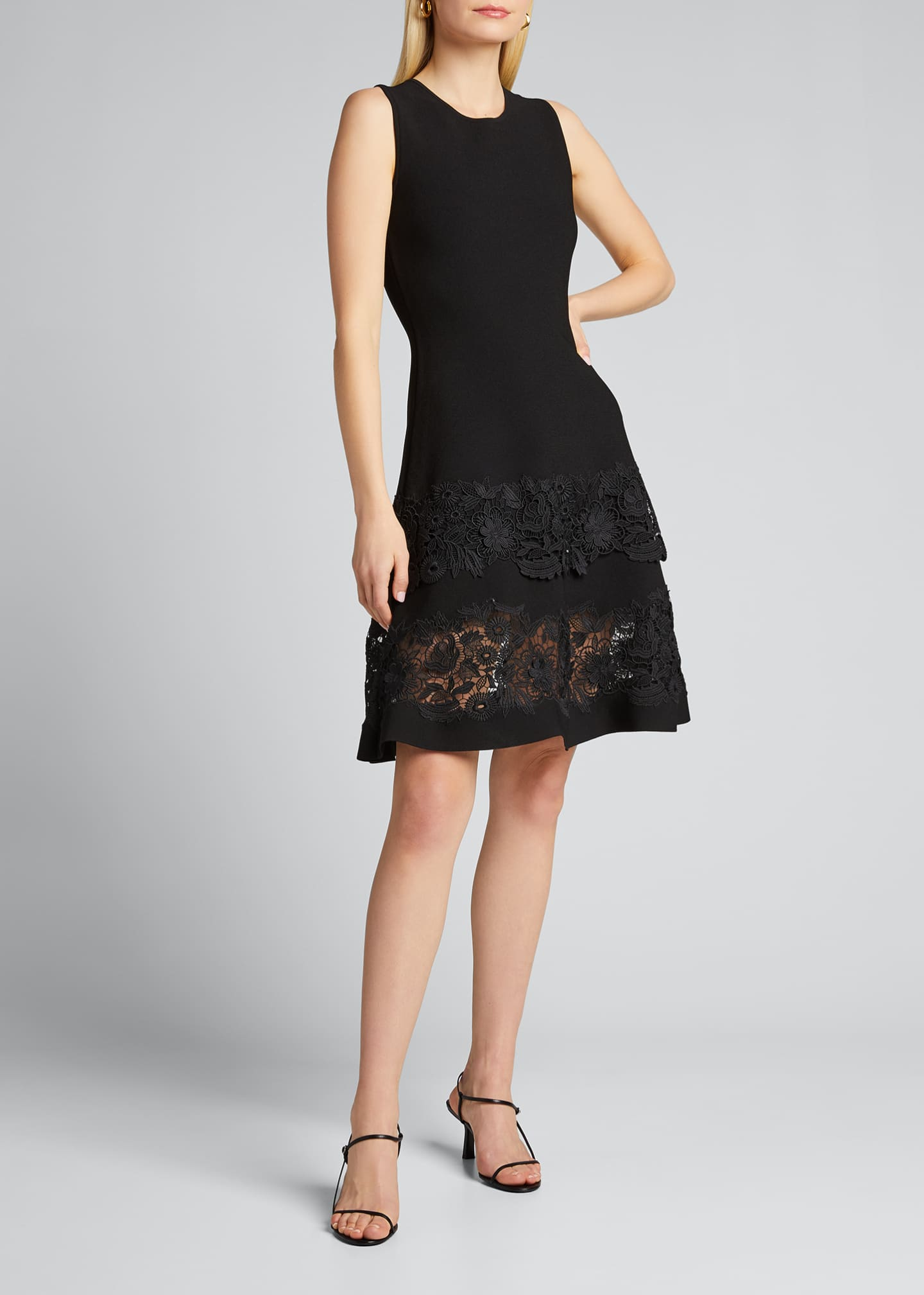 Image 3 of 5: Sleeveless Guipure Lace Fit-&-Flare Dress