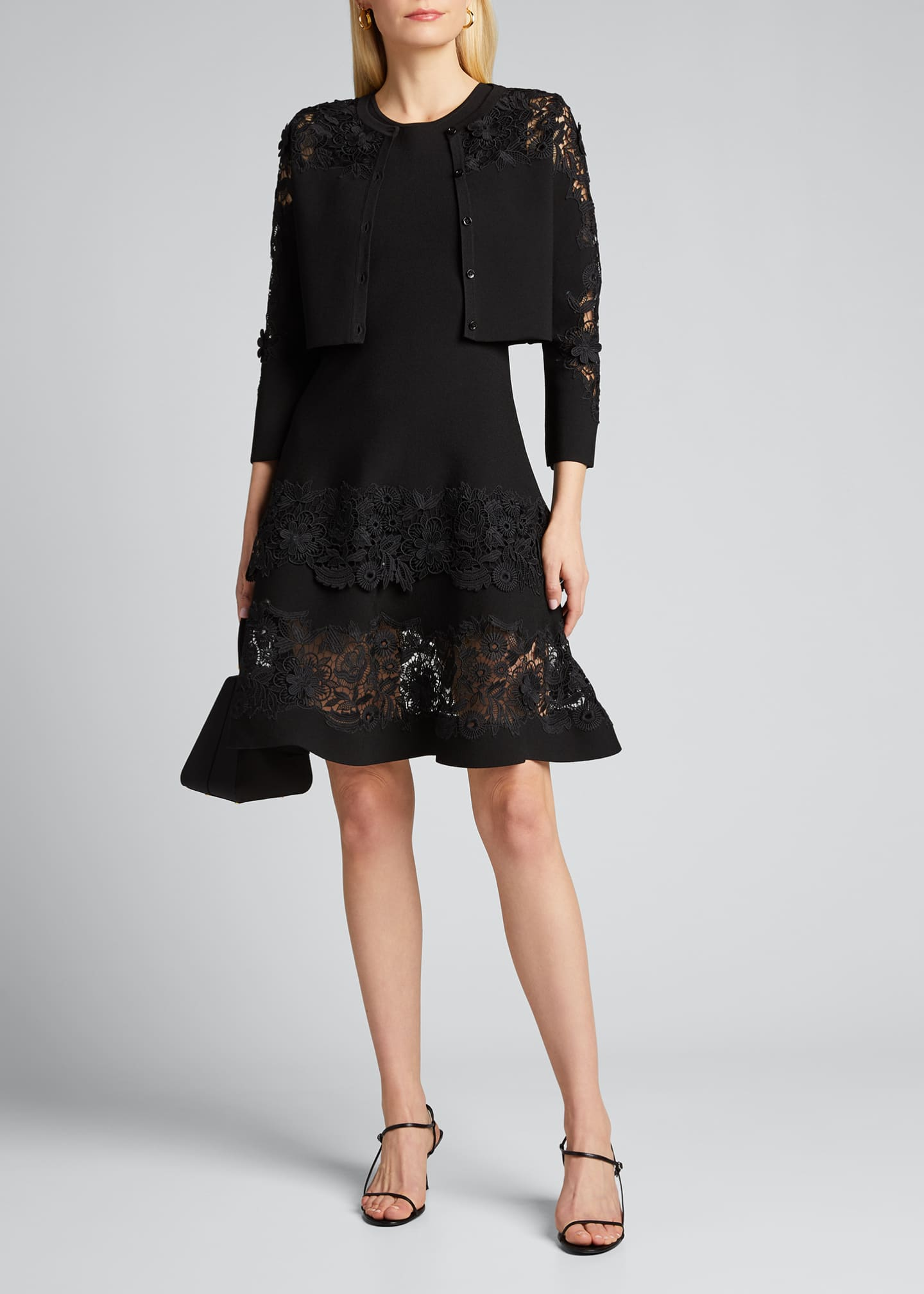 Image 1 of 5: Sleeveless Guipure Lace Fit-&-Flare Dress