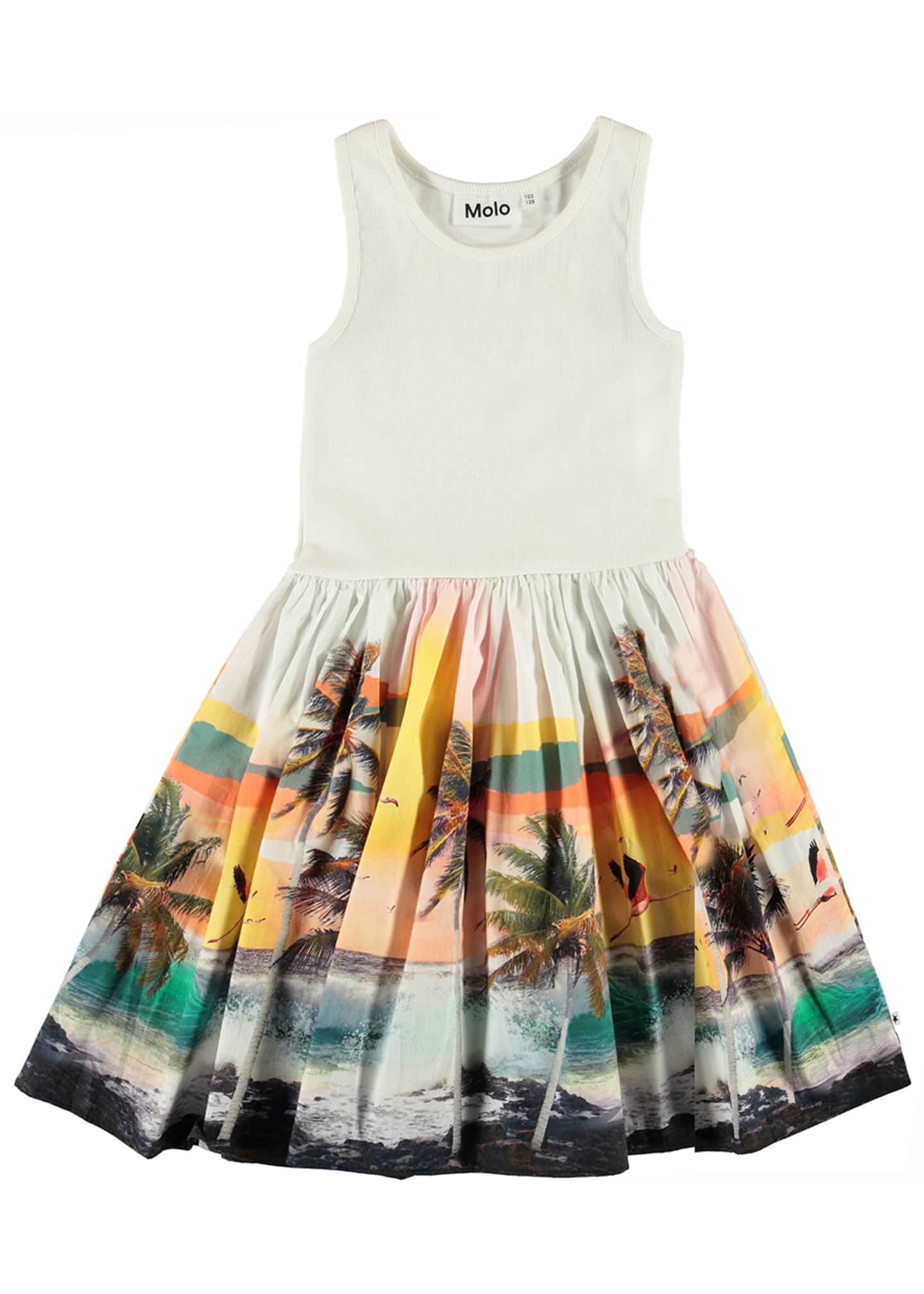 Image 1 of 2: Girl's Cassandra Ribbed Dress w/ Palm Tree Print Skirt, Size 2-14