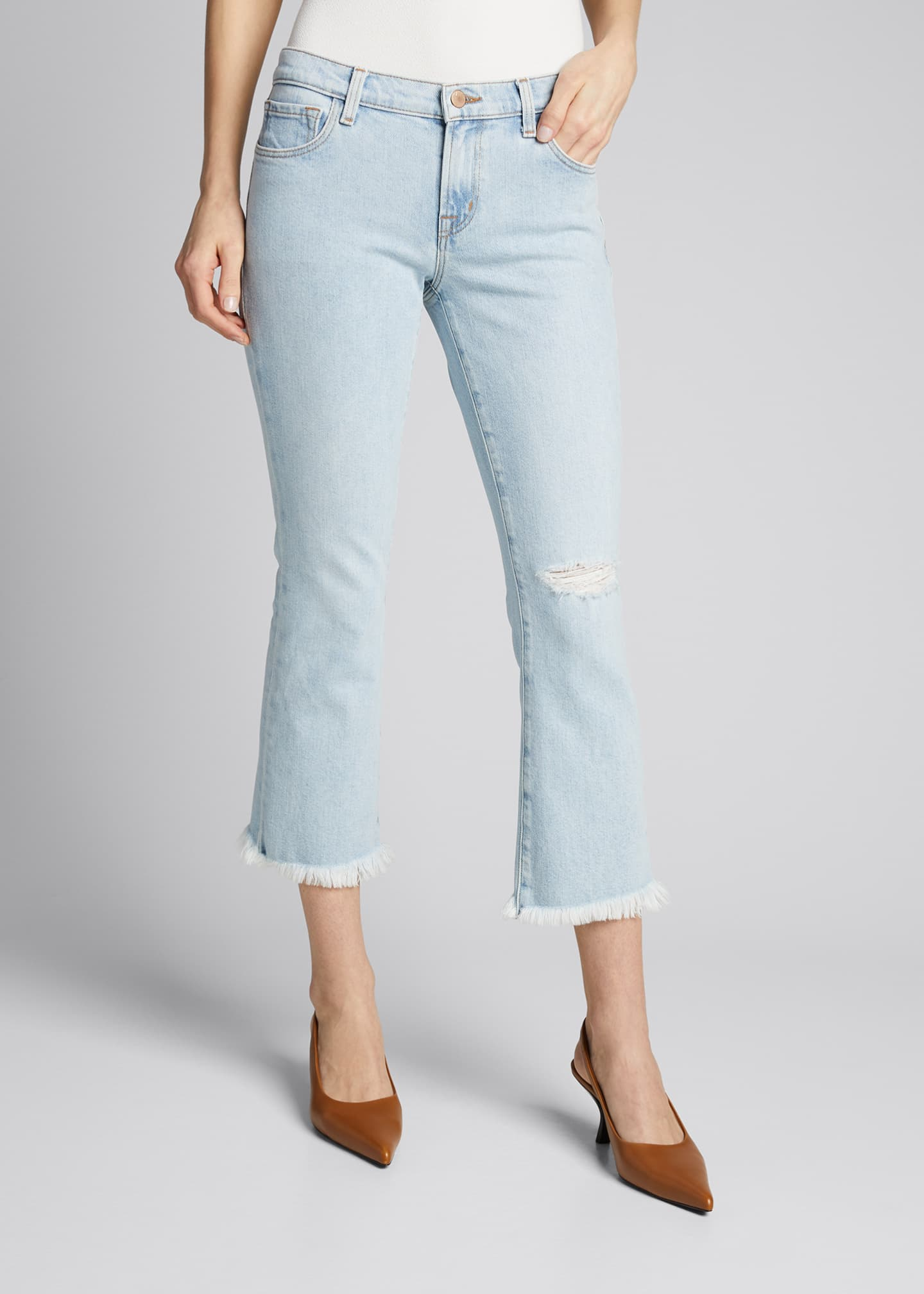 Image 3 of 4: Selena Mid-Rise Cropped Boot-Cut Jeans