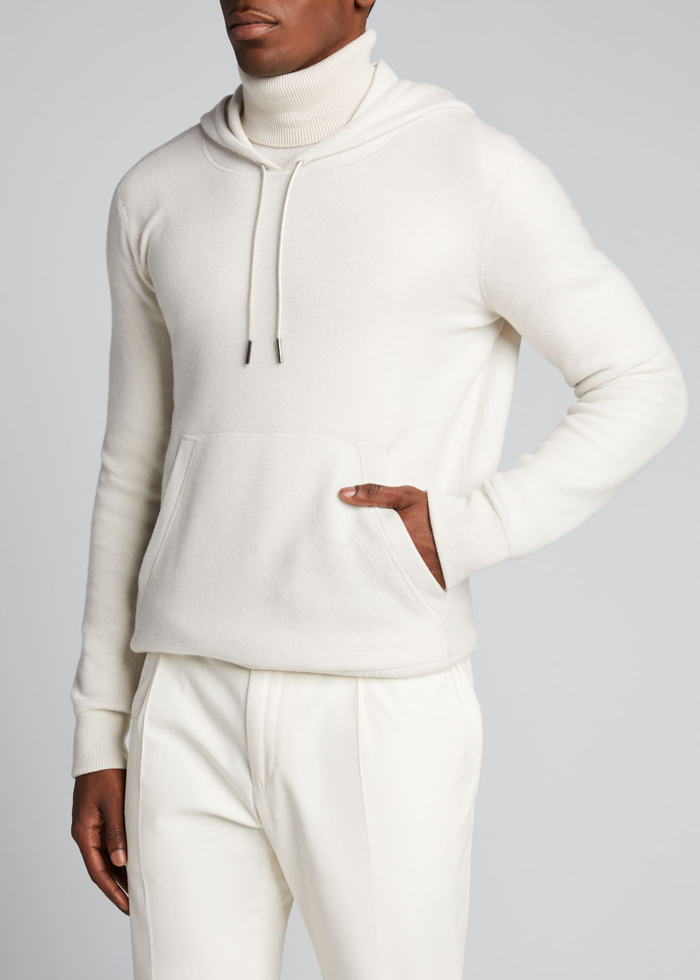 Image 3 of 5: Men's Solid Cashmere Hoodie Sweater