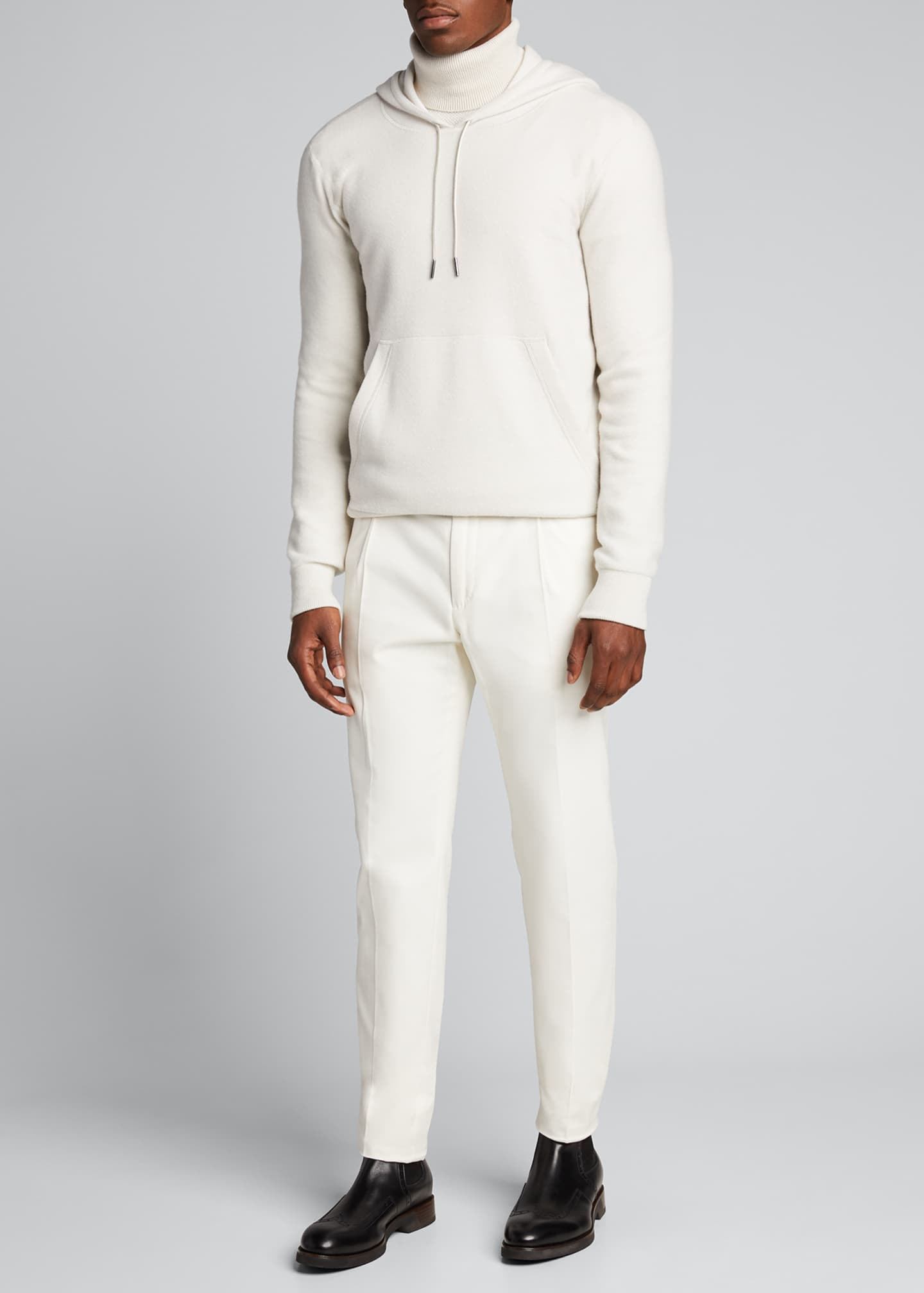 Image 1 of 5: Men's Solid Cashmere Hoodie Sweater