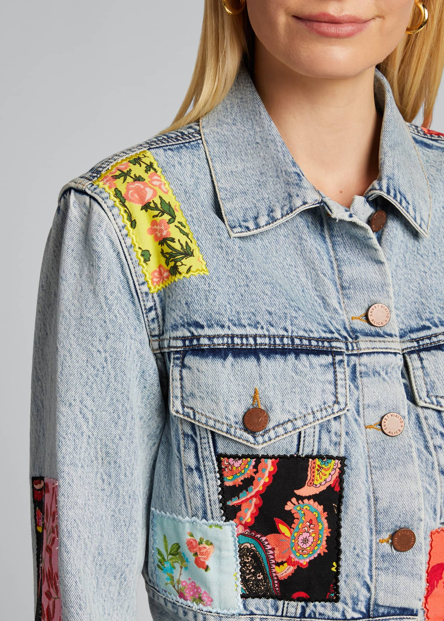 Image 4 of 5: Cropped Boxy Jacket with Patchwork