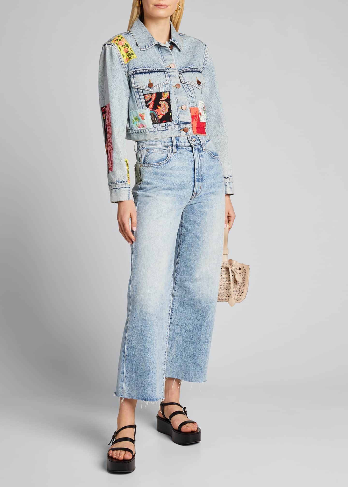 Image 1 of 5: Cropped Boxy Jacket with Patchwork