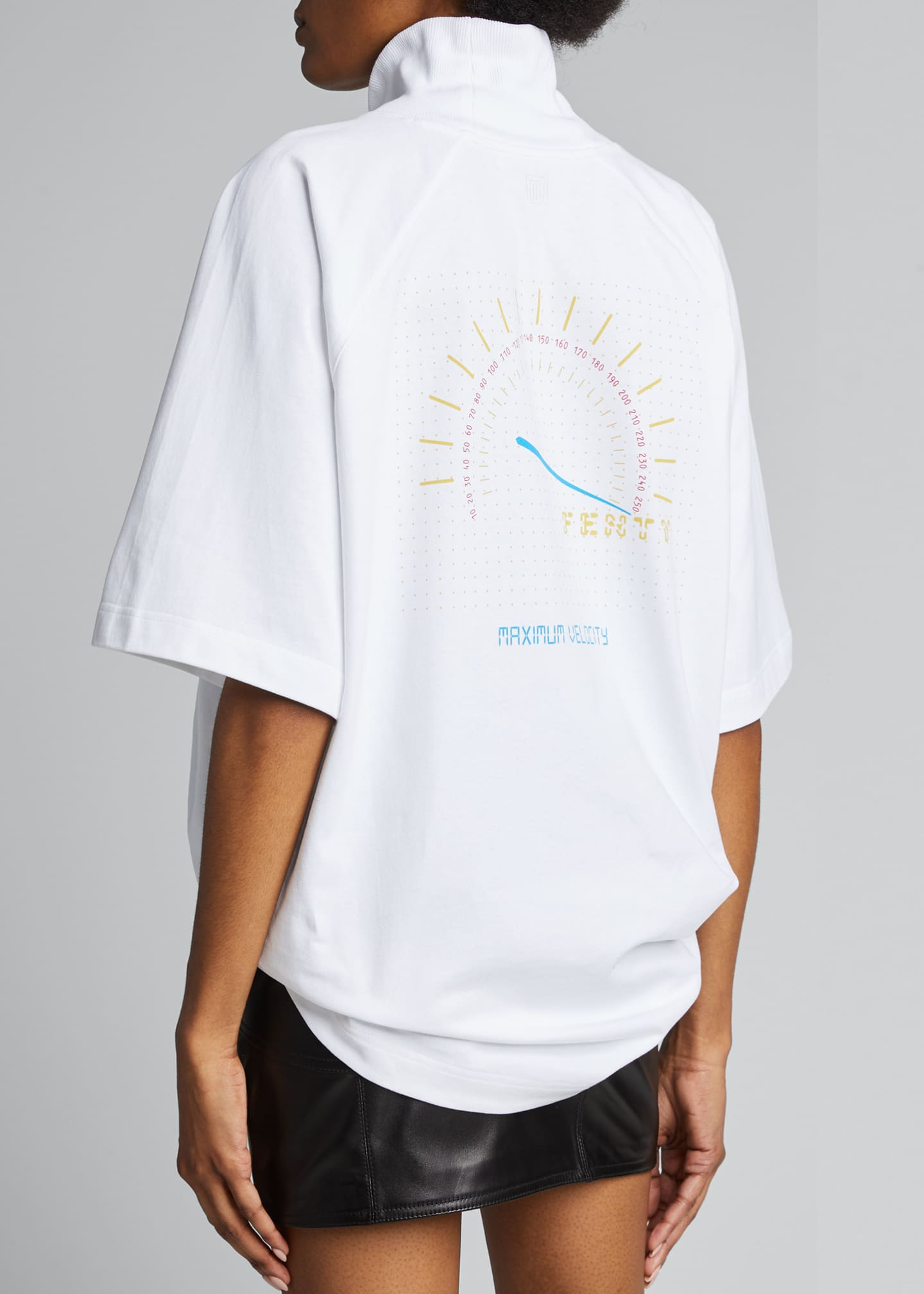 Image 2 of 5: Logo Graphic Turtleneck Tee, White