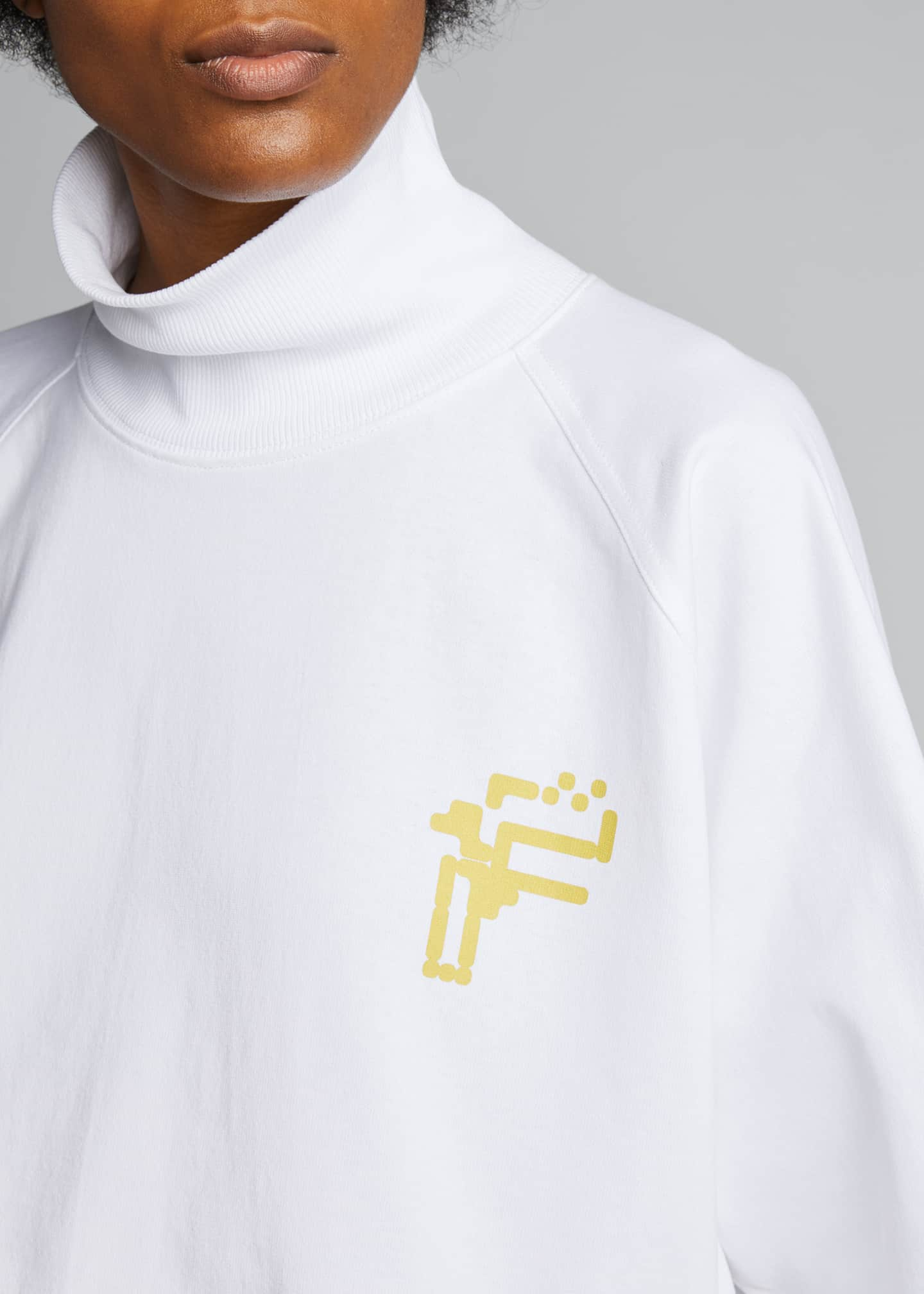 Image 4 of 5: Logo Graphic Turtleneck Tee, White