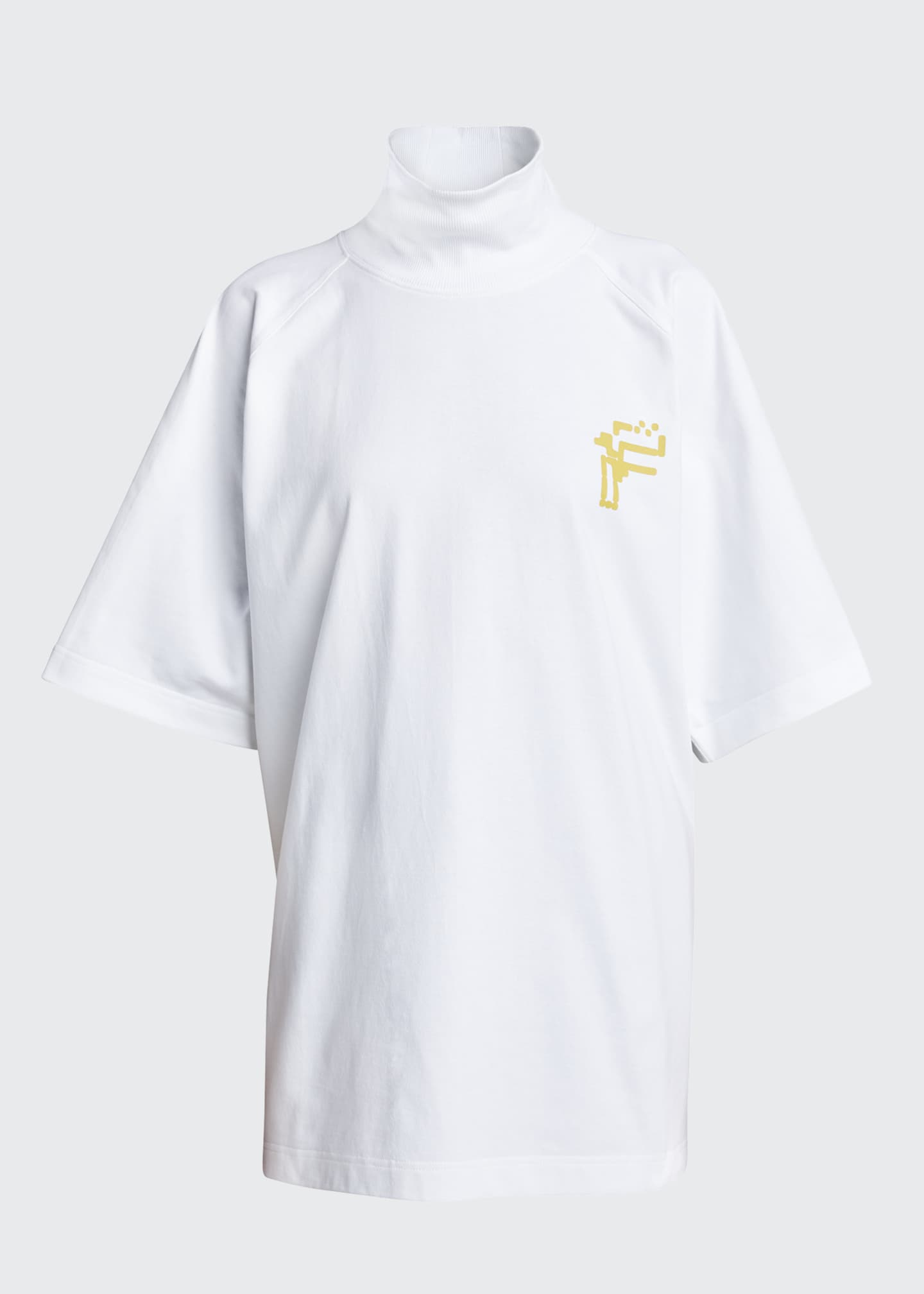 Image 5 of 5: Logo Graphic Turtleneck Tee, White