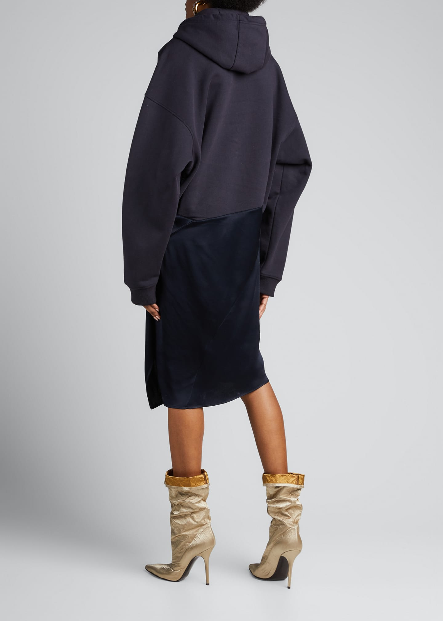 Image 2 of 5: Satin-Skirt Hoodie Dress, Navy