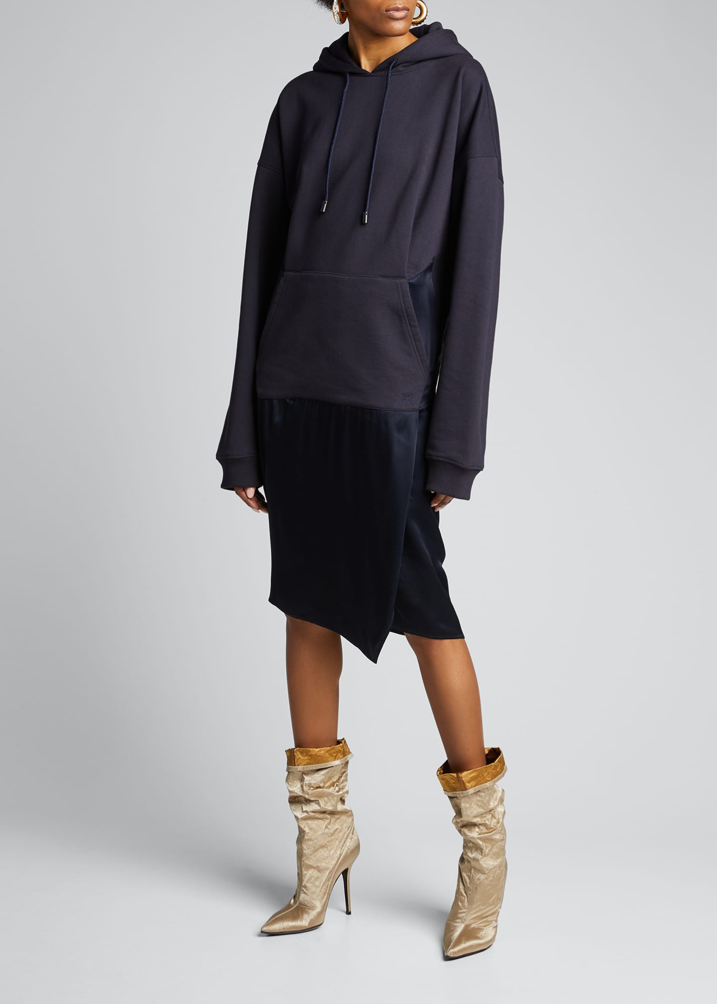 Image 3 of 5: Satin-Skirt Hoodie Dress, Navy