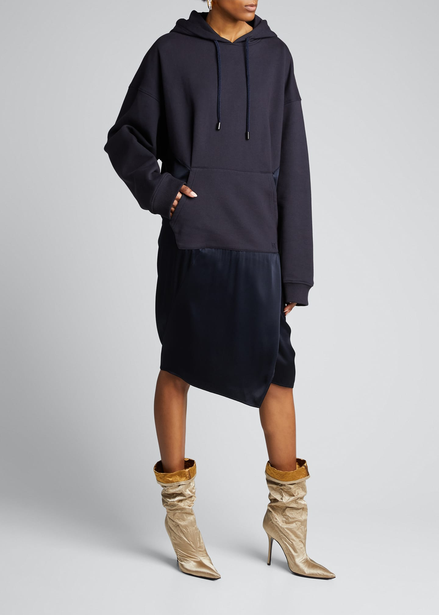 Image 1 of 5: Satin-Skirt Hoodie Dress, Navy