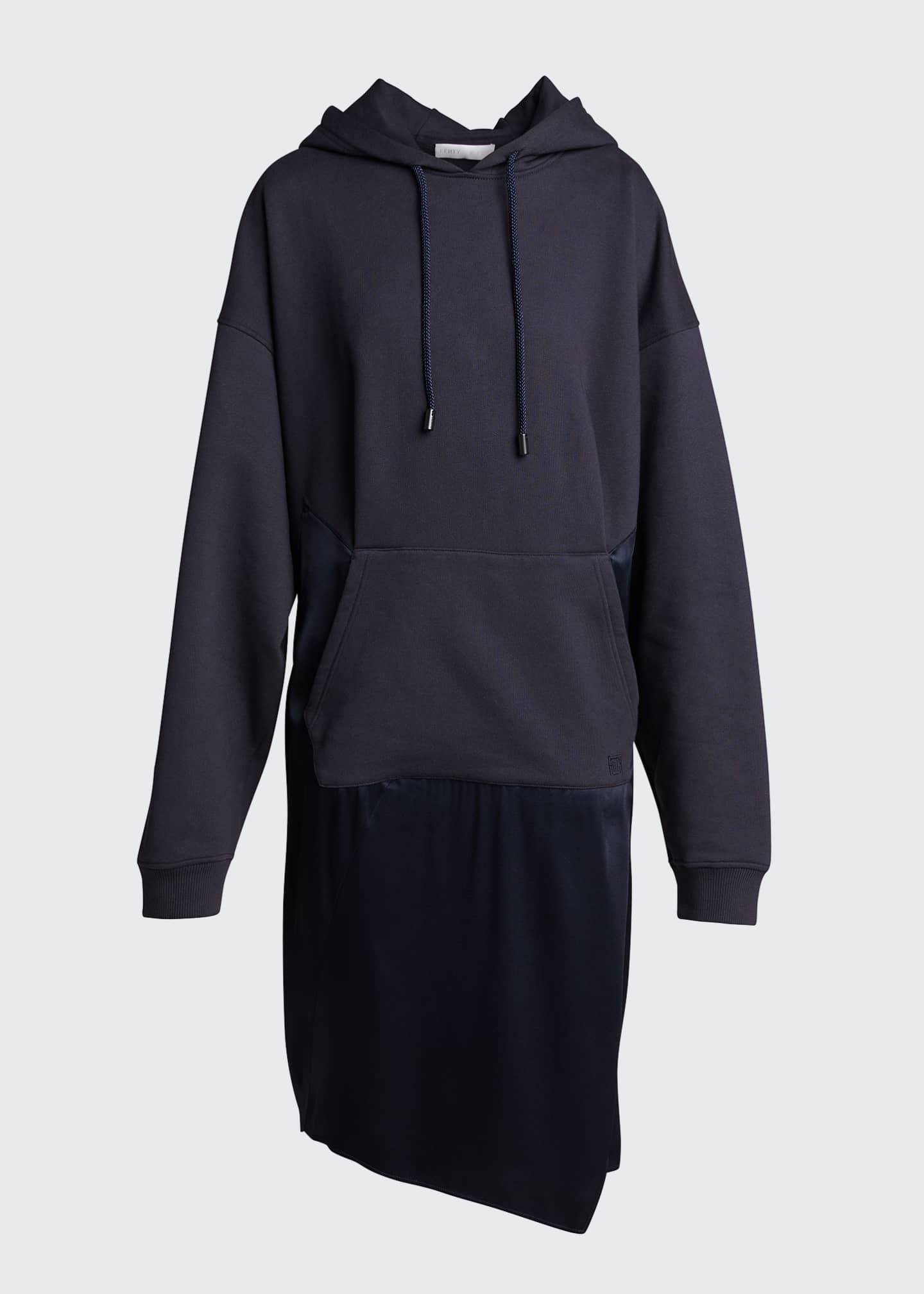 Image 5 of 5: Satin-Skirt Hoodie Dress, Navy